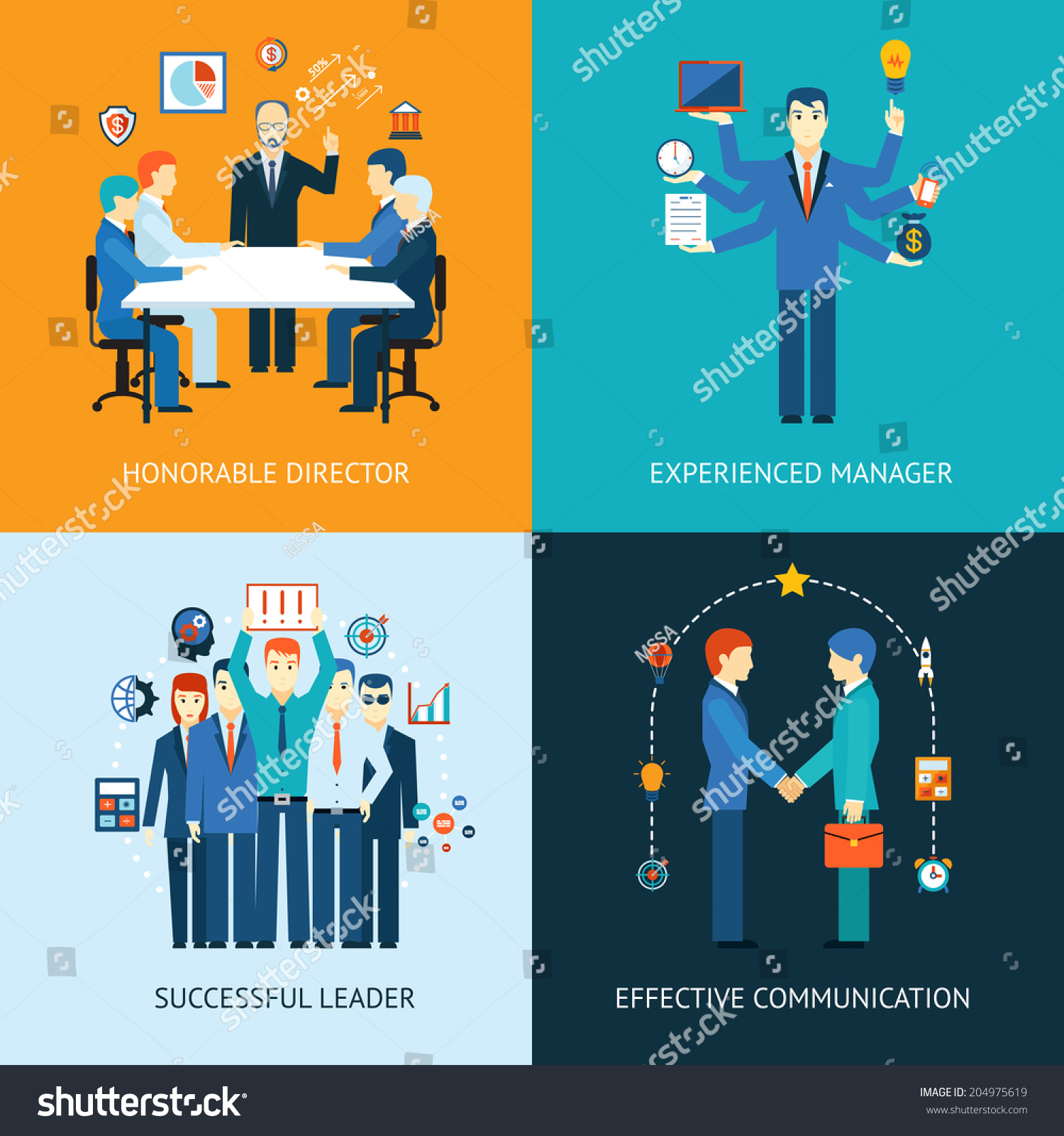 business team leader banners management meeting stock vector business team leader banners a management meeting honorable director a multitasking man experienced