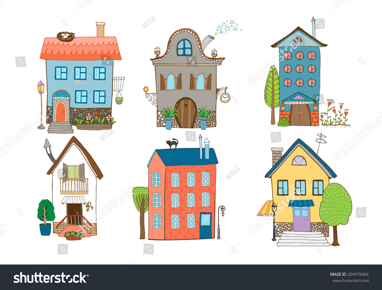 Home Sweet Home - Set Of Hand-Drawn Vector Houses In Different ... - ^