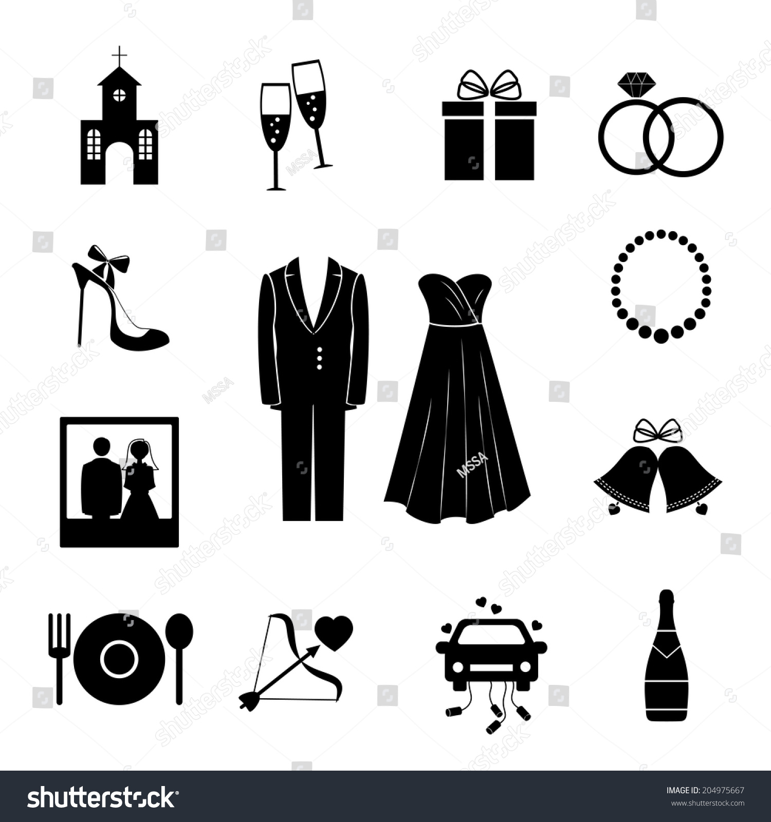Set Of Black Silhouette Vector Wedding Icons Depicting A Church Chagne Gift Rings Shoe Bride And: And Wedding White Rings Black Sulowett At Reisefeber.org