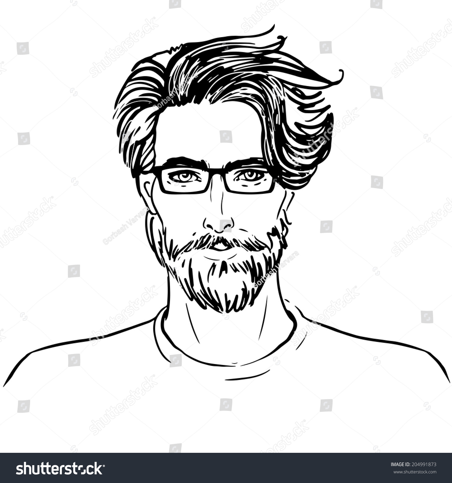 Hipster Vector Man Face Beard Glasses Stock Vector ...