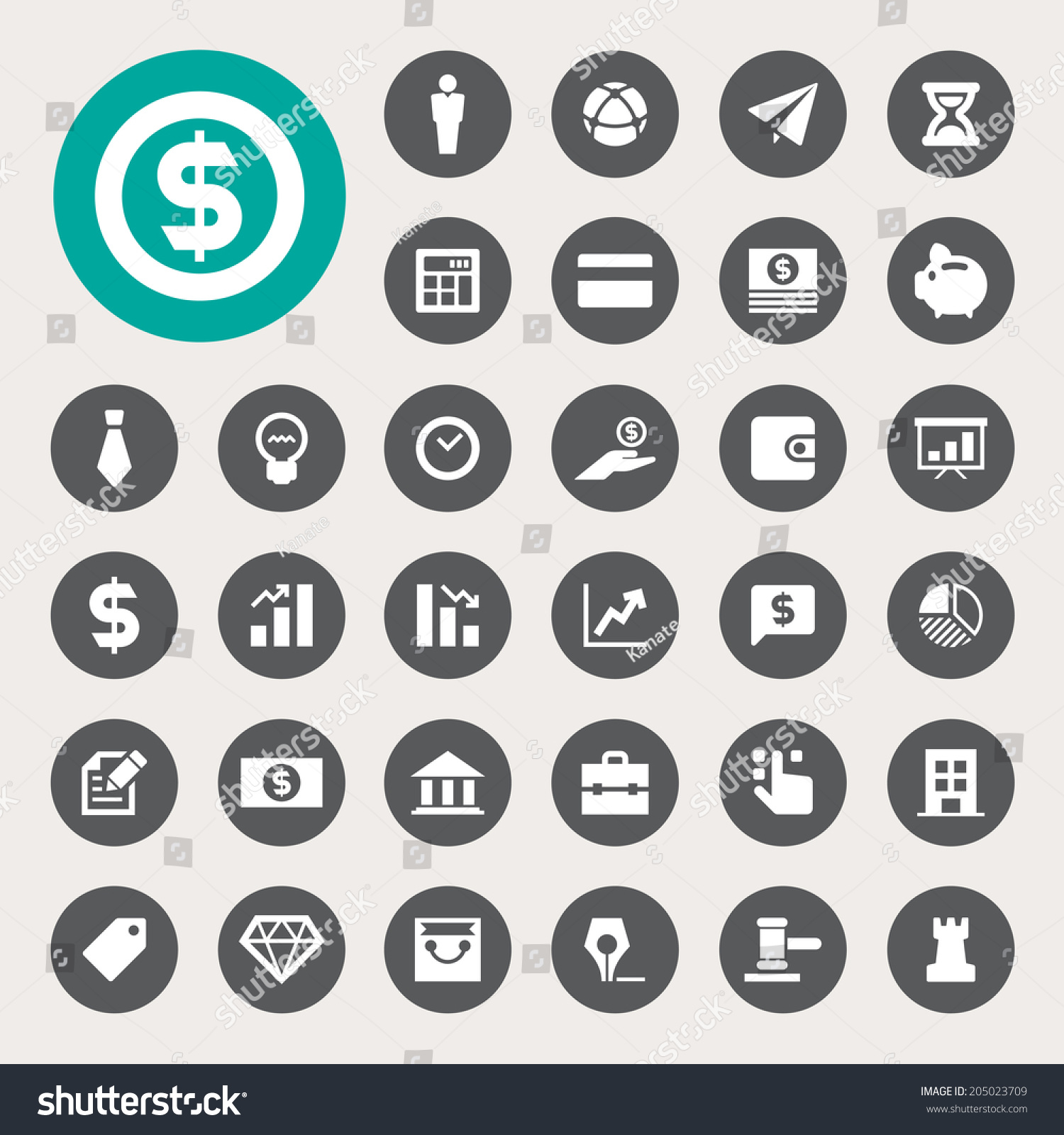 Finance Icon Set: Business Finance Icon Set Illustration Eps10 Stock Vector