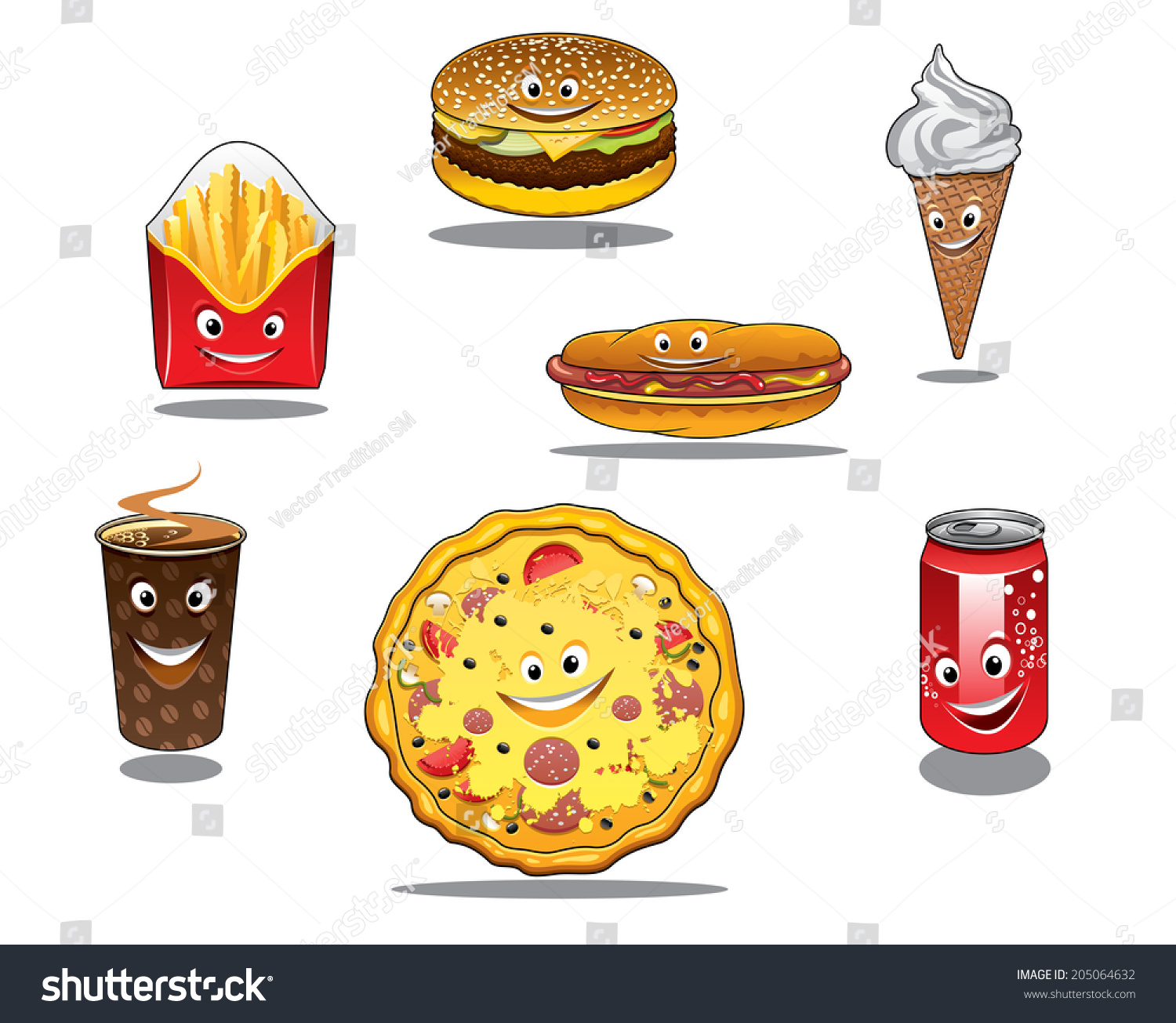 Colorful Fast Food Takeaway Food Logo Stock Vector Royalty Free