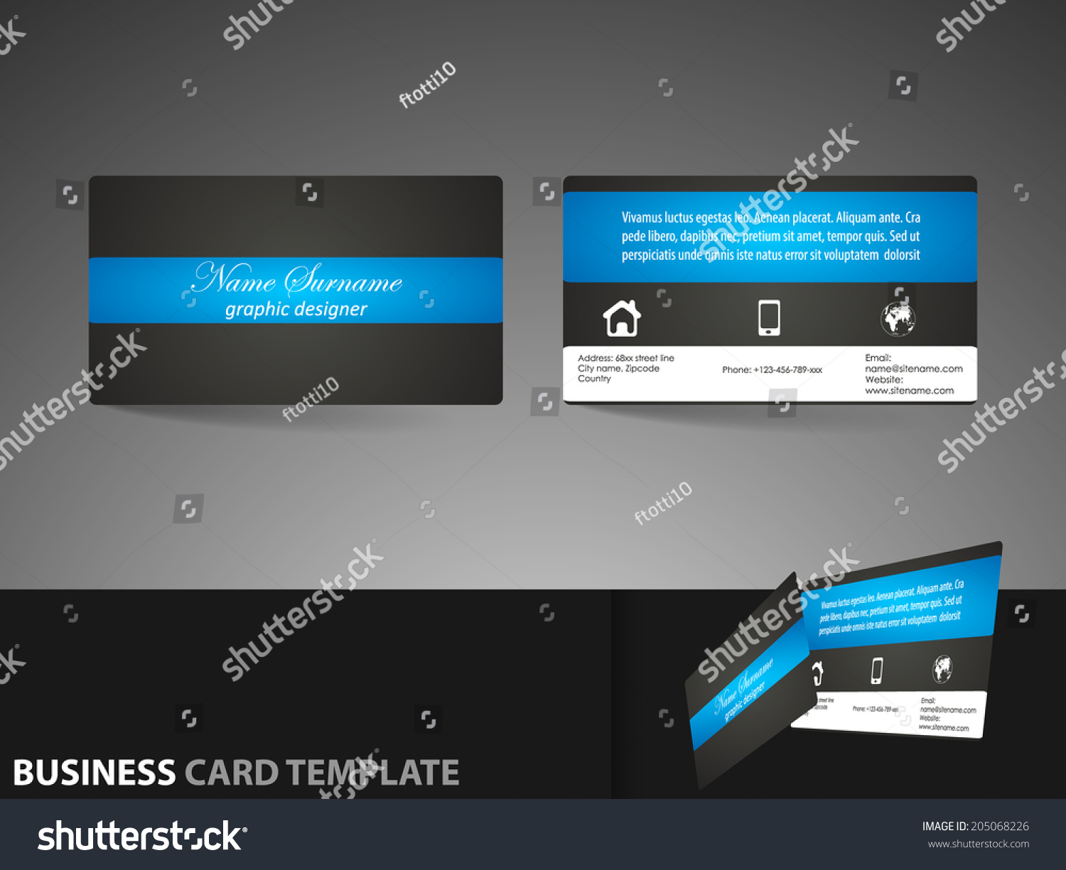 Modern business card template visiting card stock vector 205068226 modern business card template or visiting card setdesign for personal presentation corporate presentation magicingreecefo Gallery