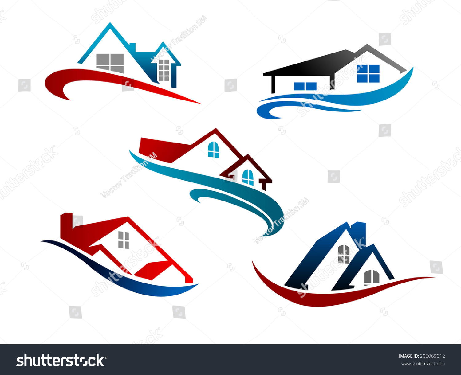 Colorful Roof Houses Swoosh Symbol Logo Stock Vector Hd Royalty