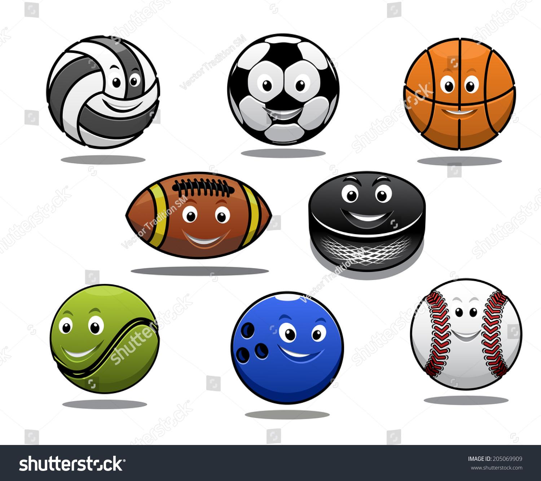 Set Cartoon Sports Balls Equipment Volleyball Stock Vector ...