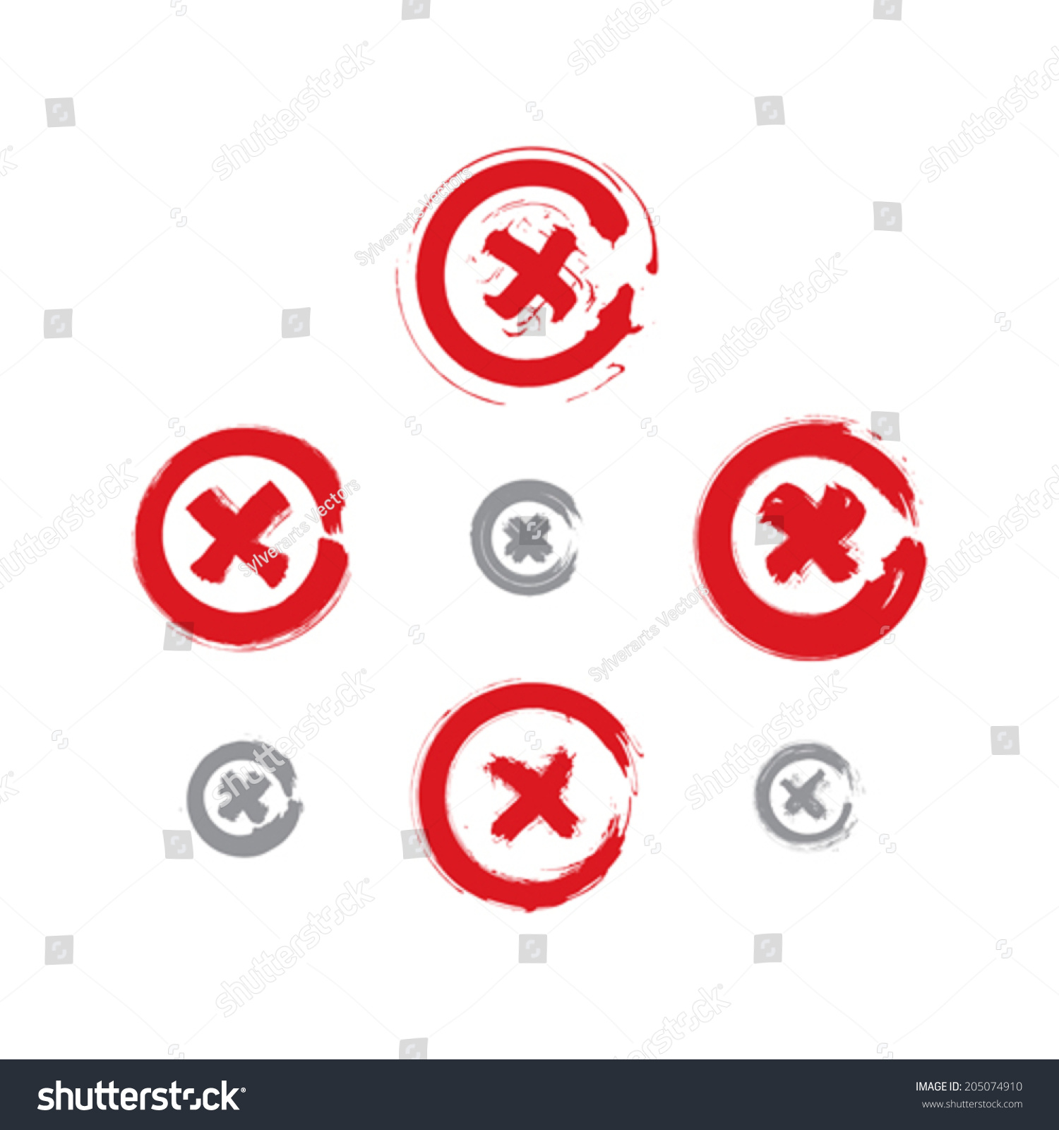Set Handdrawn Close Icons Scanned Vectorized Stock Vector Royalty Push Button Switch Schematic Symbol Of Hand Drawn And Collection Brush Drawing
