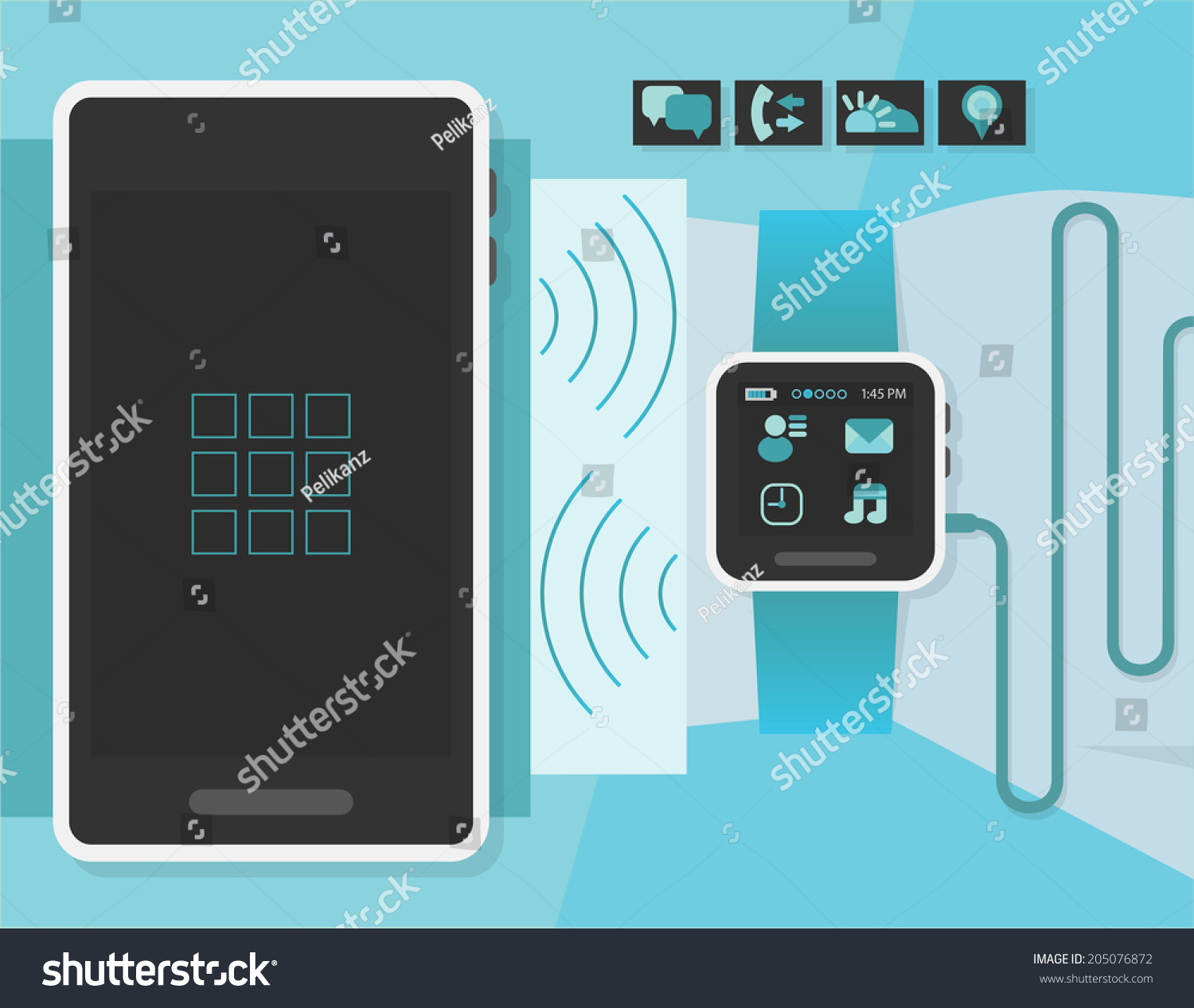 Royalty-free Smart watch on a business man wrist in… #205076872 ...
