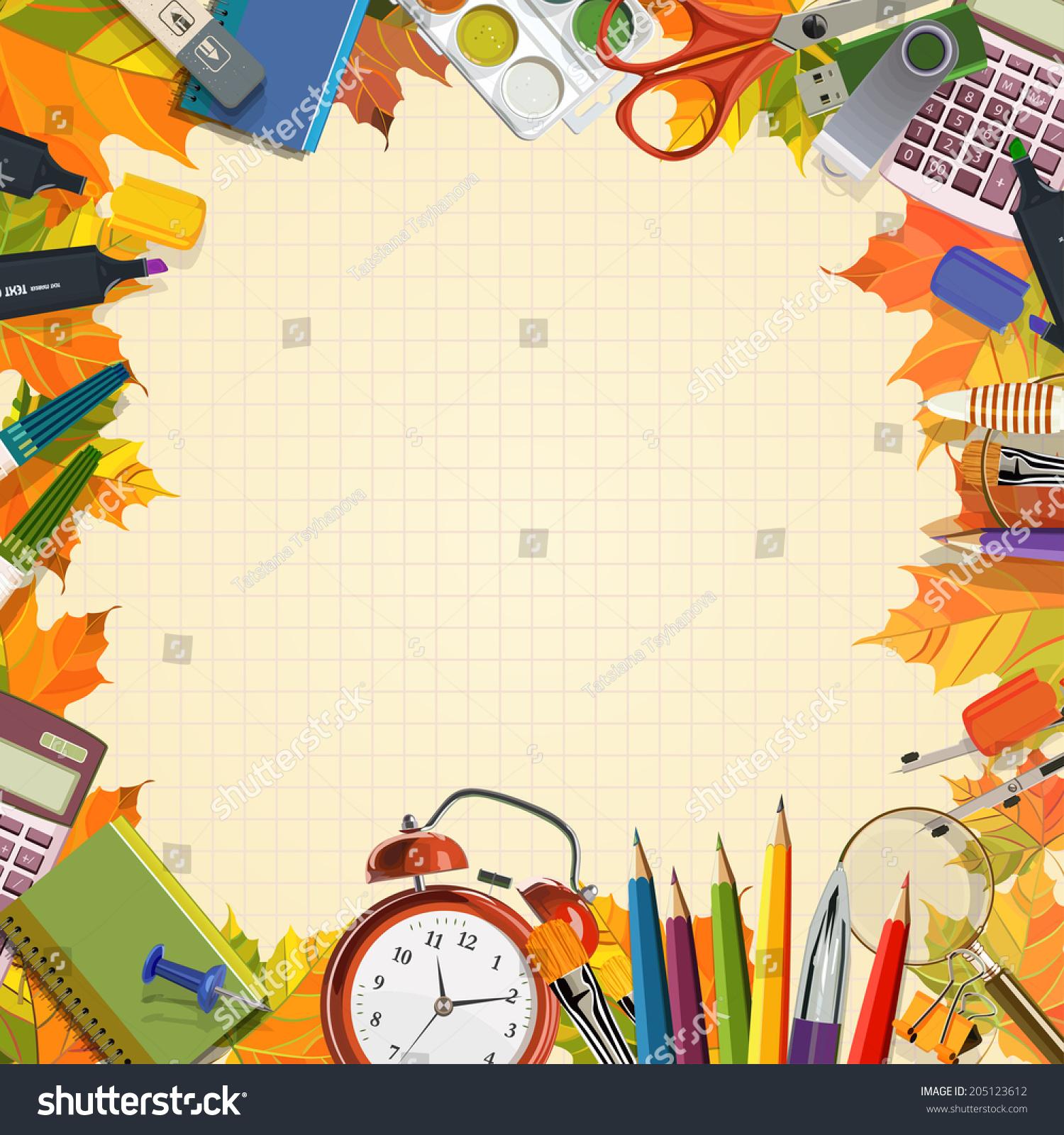 Vector Frame Of School Supplies. School Poster In Vintage Style ...