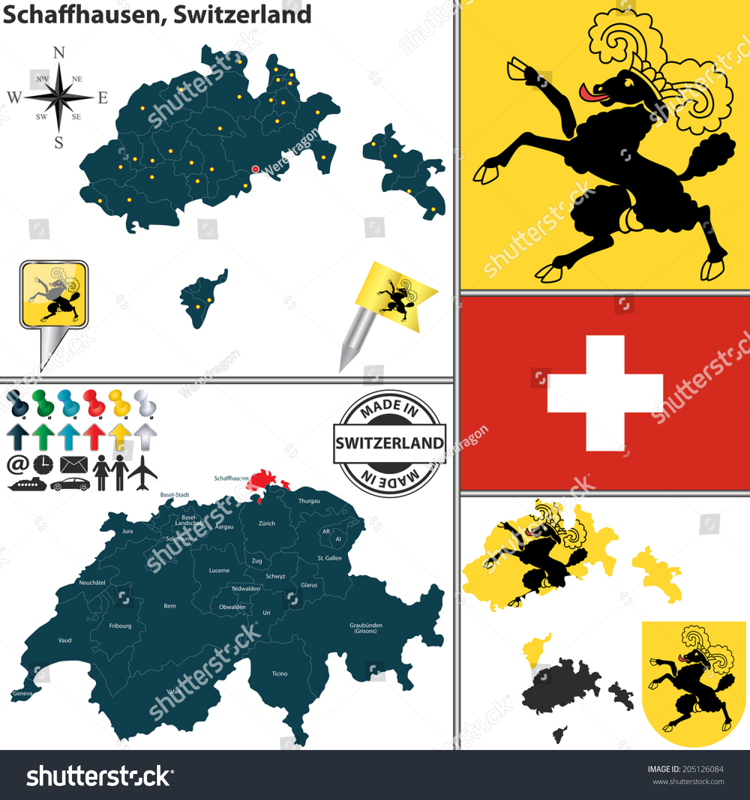 Vector Map Canton Schaffhausen Coat Arms Stock Vector 205126084