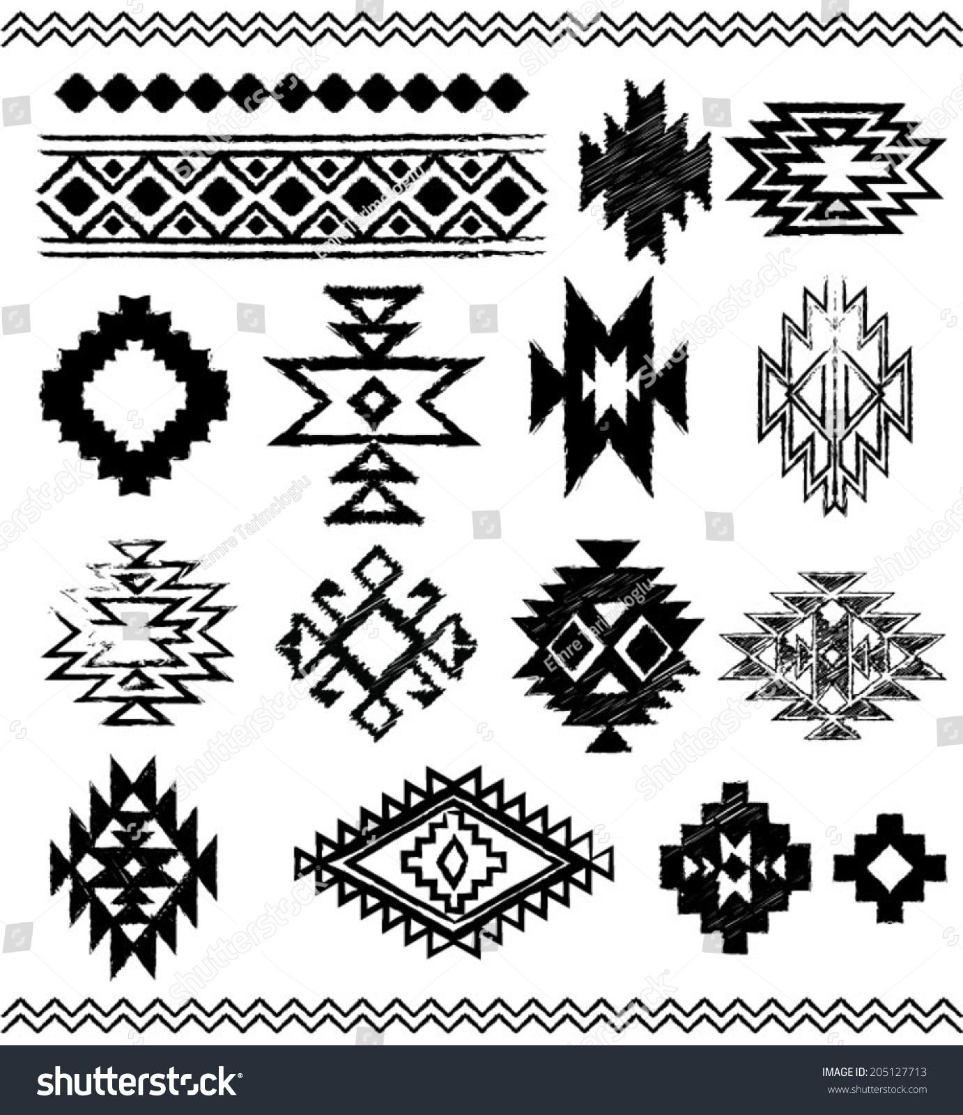 Hand Drawn Look Aztec Navajo Indian Stock Vector 205127713 ...