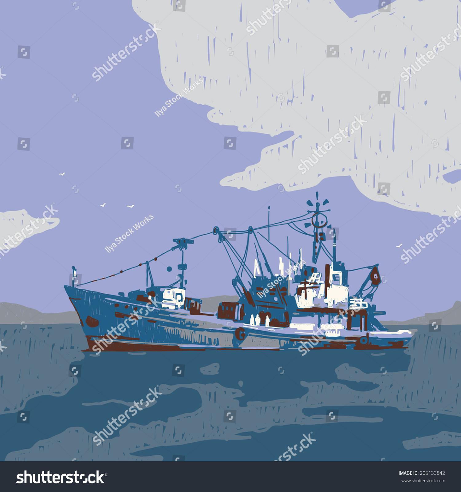 Small Fishing Boat Graphic Illustration