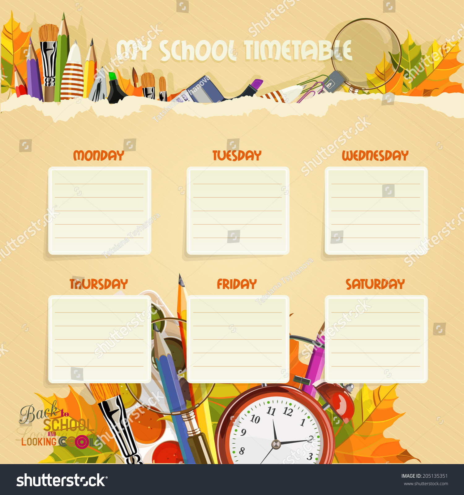 Quotes On School Time Table: School Timetable Schedule Back School Stock Vector