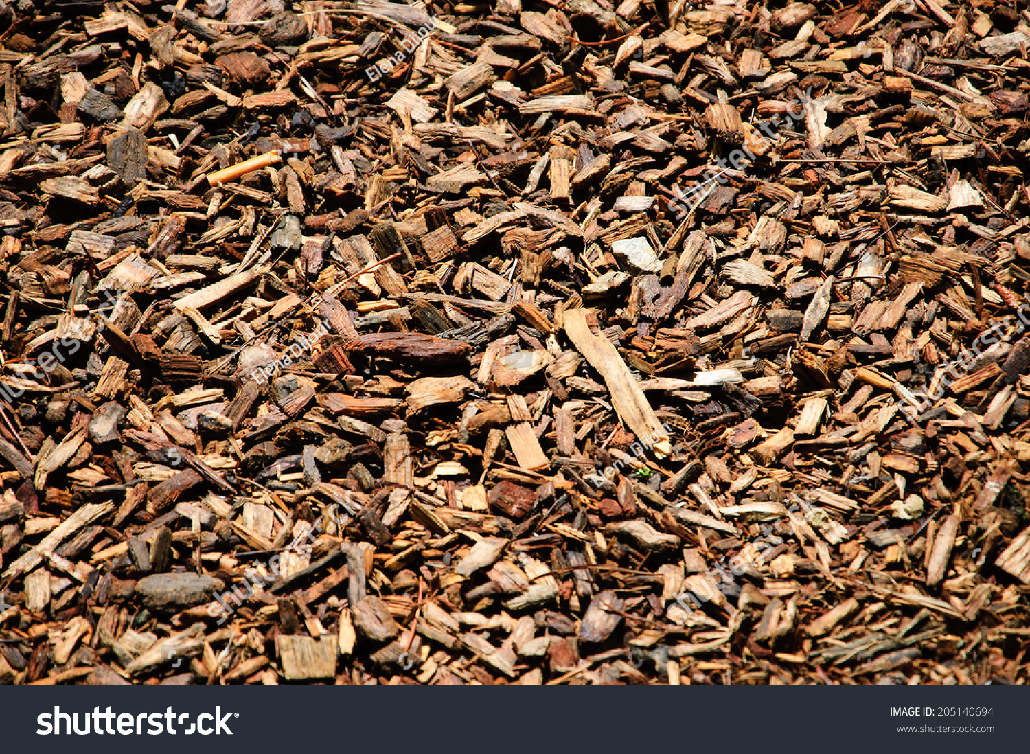 Dirty Wood Chips ~ Wood chips landscaping gardens ecological background stock