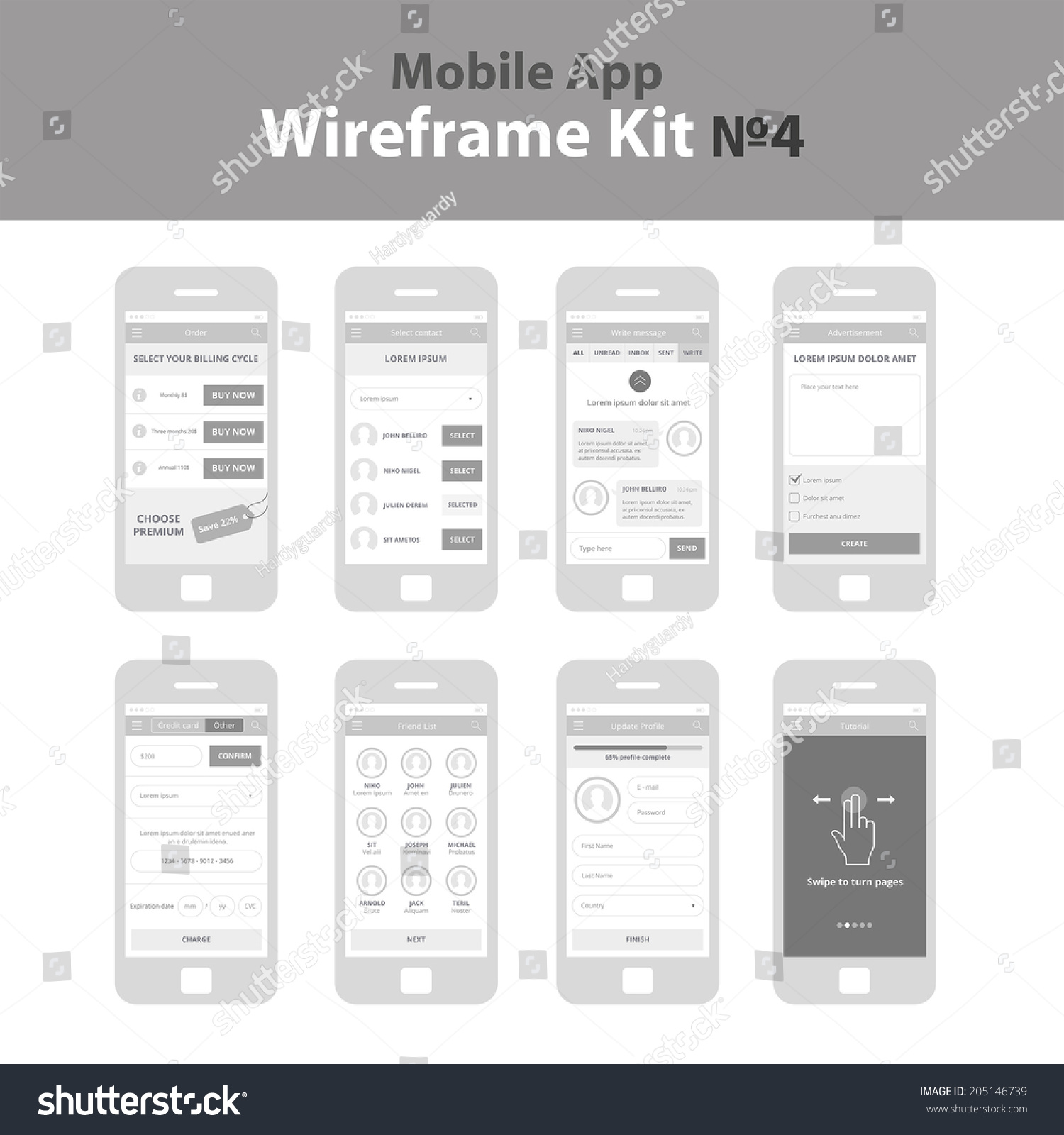 Mobile app wireframe ui kit 4 vector de stock205146739 shutterstock mobile app wireframe ui kit 4 order plan screen select contacts screen write malvernweather Gallery