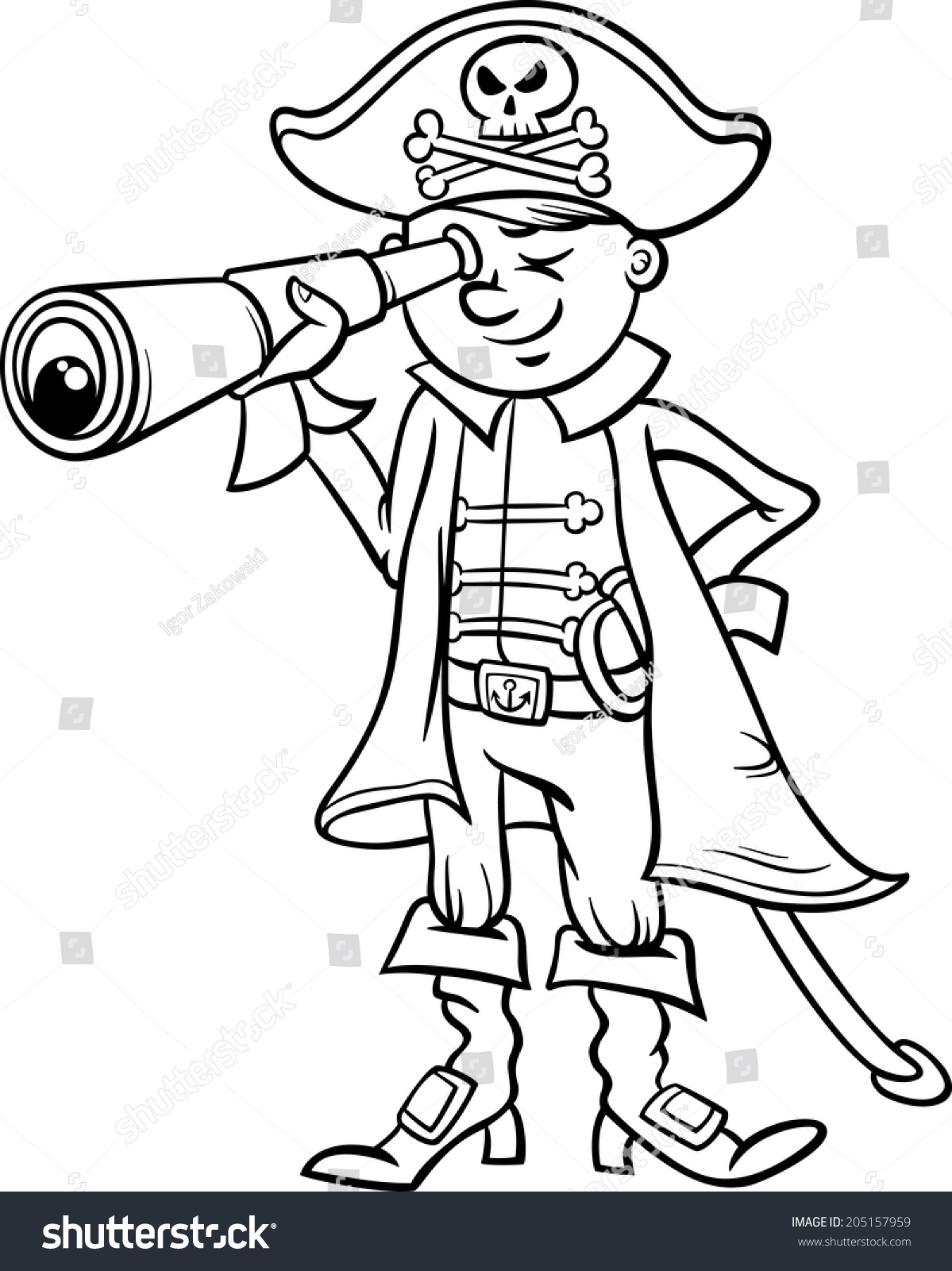 Spyglass Clipart Black And White black and white cartoon vector ...