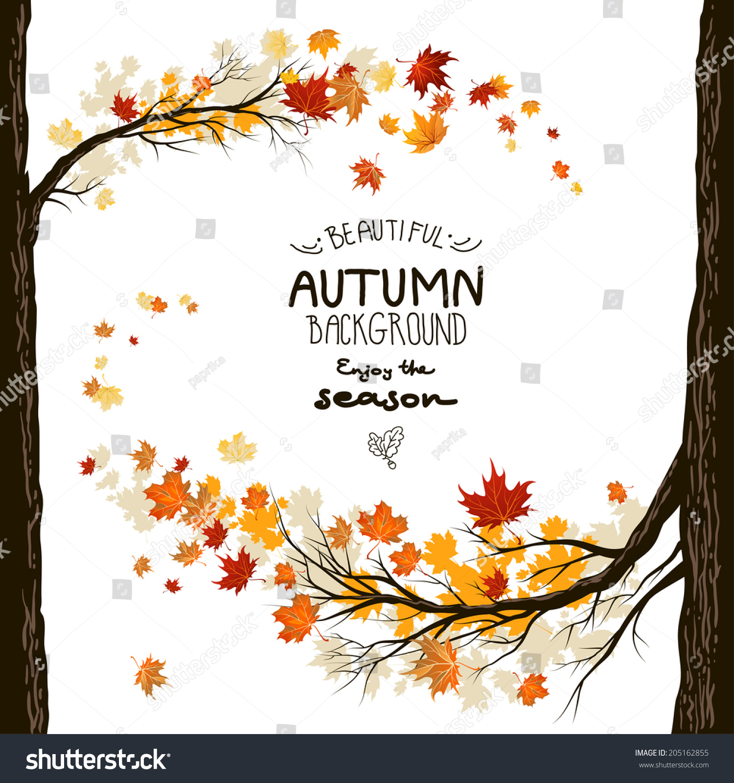 Fall Background Leaves Autumnal Frame Trees Stock Vector ...