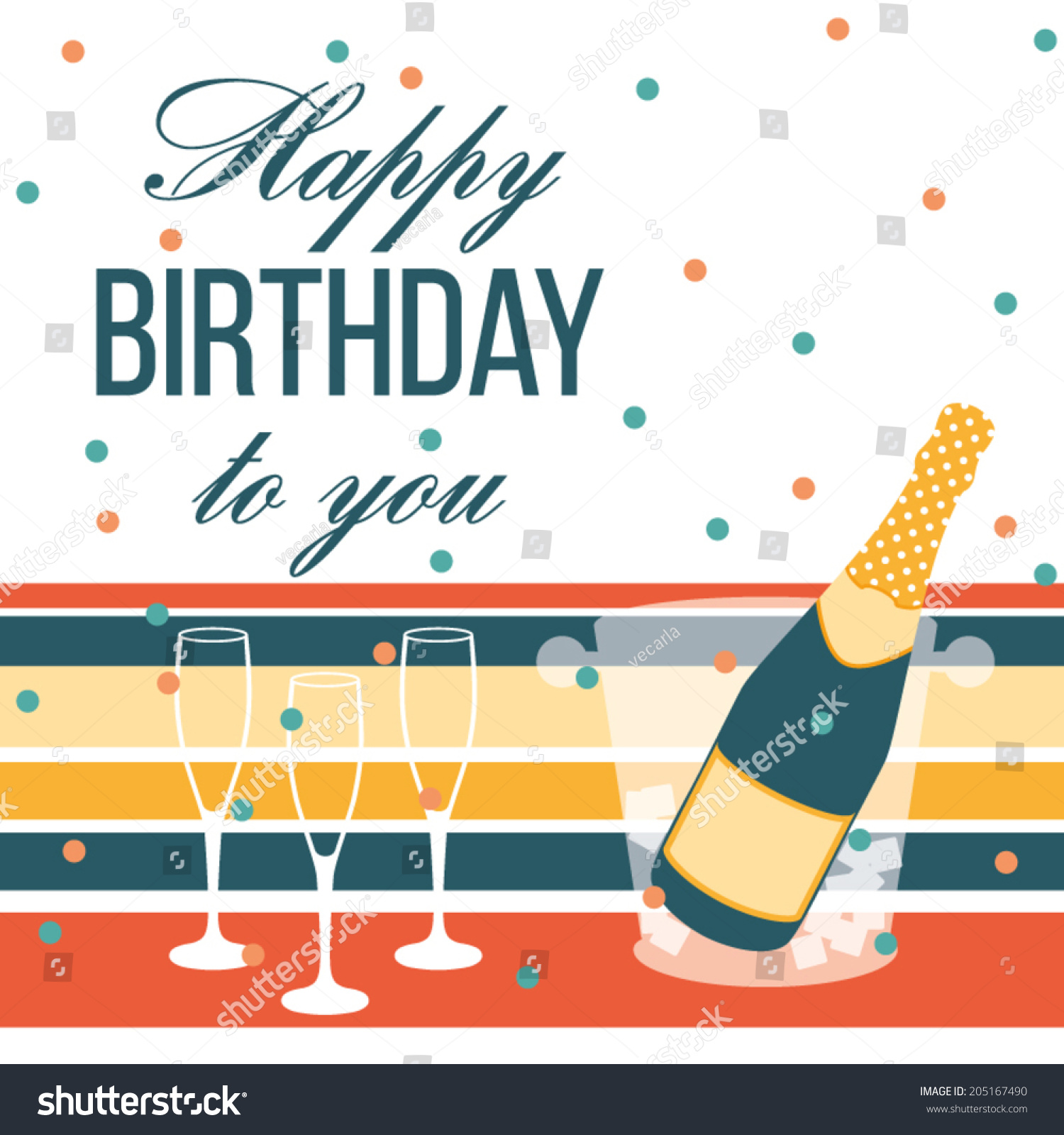 Happy Birthday Card Champagne Bottle Glasses Stock Vector