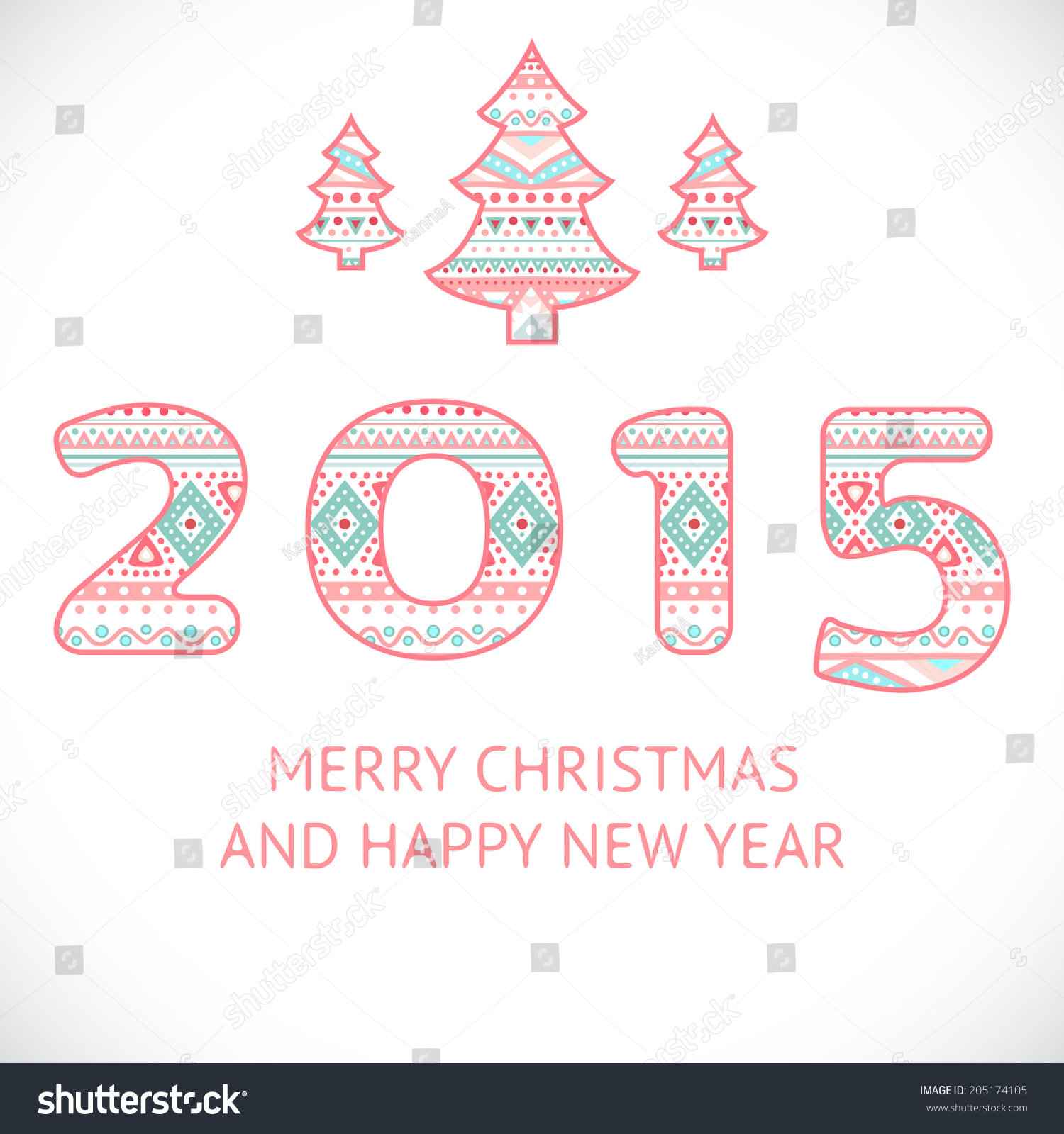 Happy New Year 2015 Beauty Greeting Stock Vector Royalty Free
