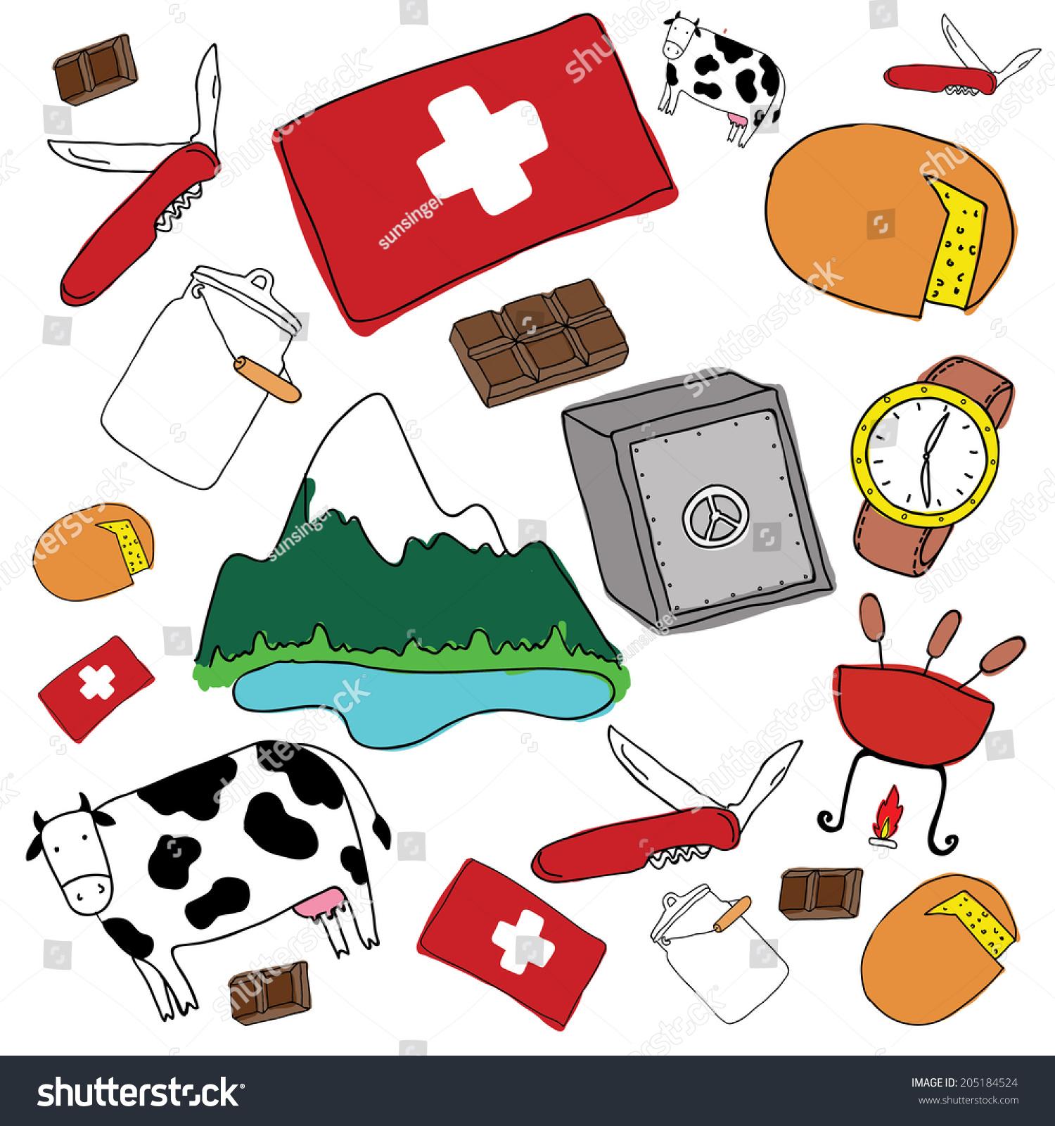 Vector Symbols Switzerland Stock Vector Royalty Free 205184524