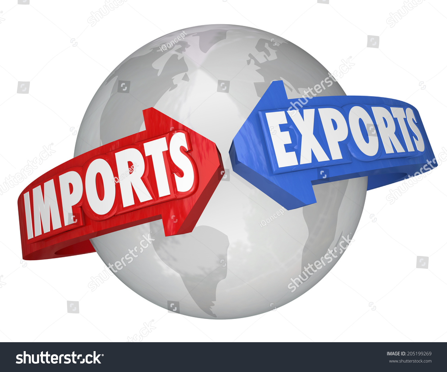 Imports Exports Words Arrows Earth International Stock ...