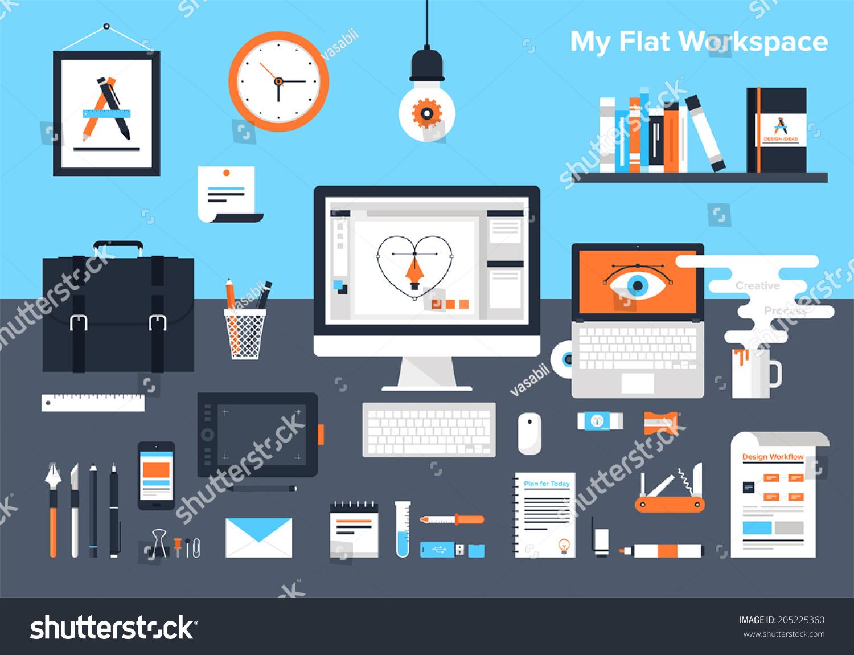 Flat vector illustration of designer 39 s workplace for Designer s image