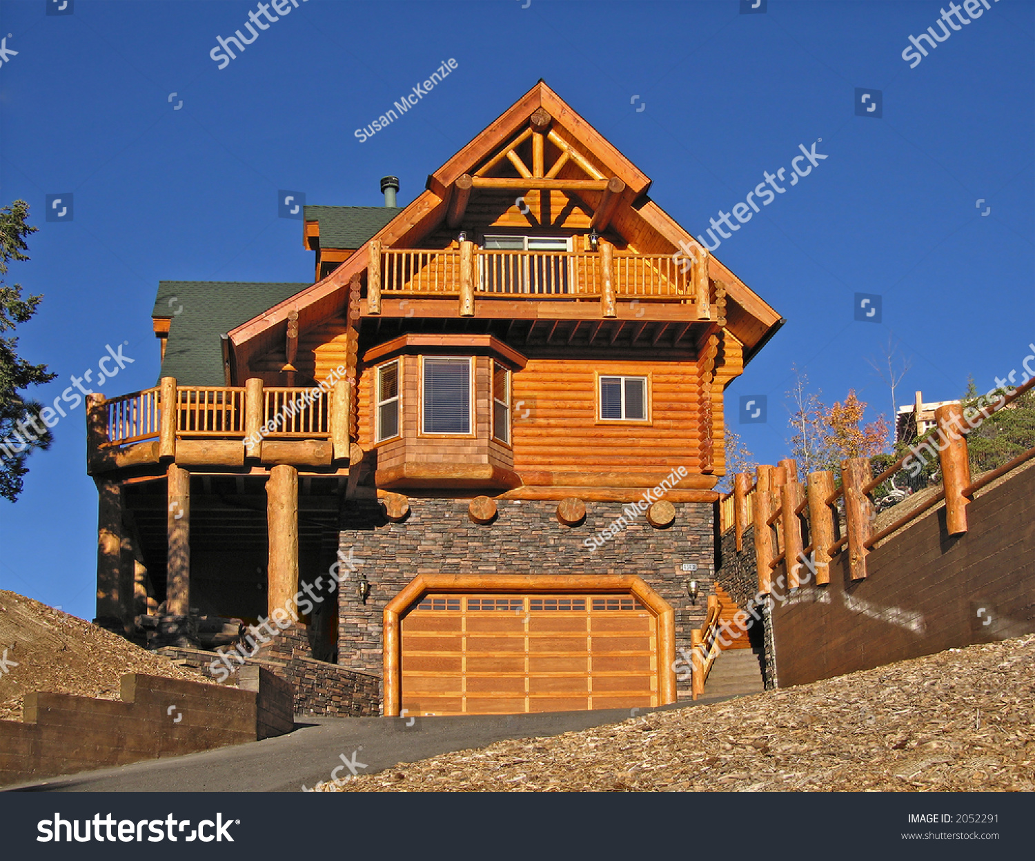 log cabin home exterior warm fireplace stock photo 2052291