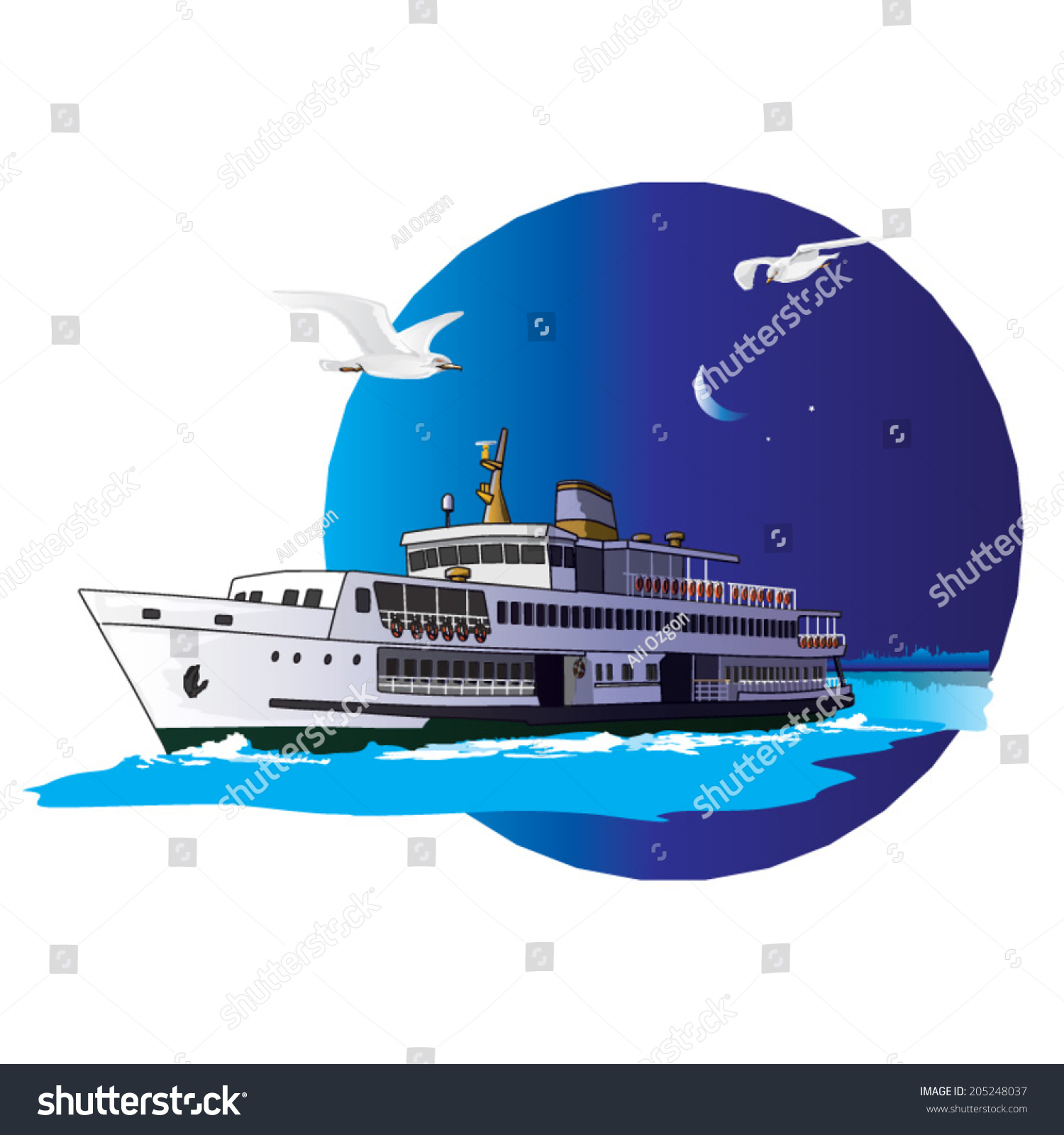 Liner Passing Boshporus Nightfall Front Istanbul Stock Vector Atasan Hp A The At In Of Silhouette Illustration