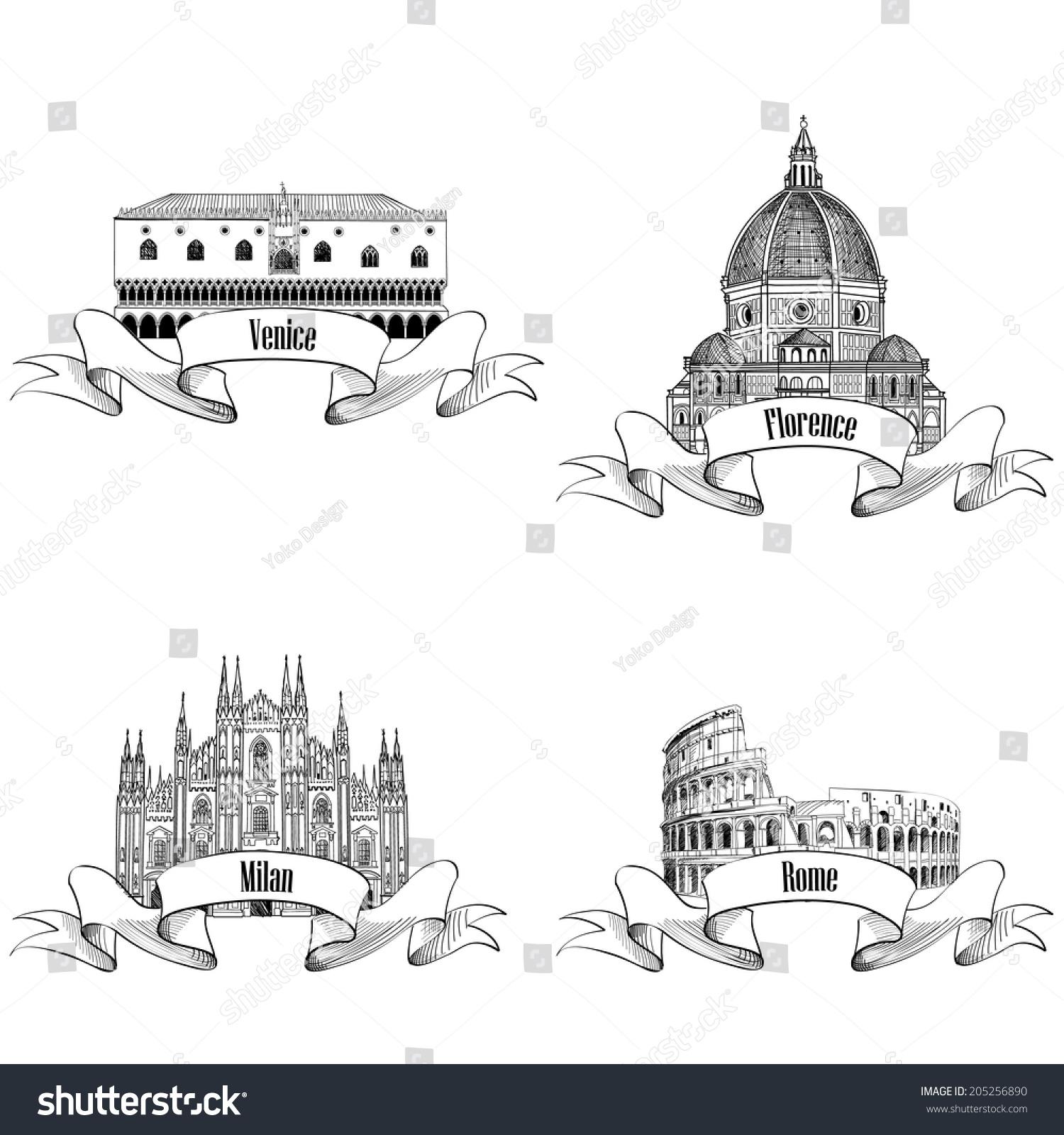 Famous Italian City Label Set Rome Stock Vector 2018