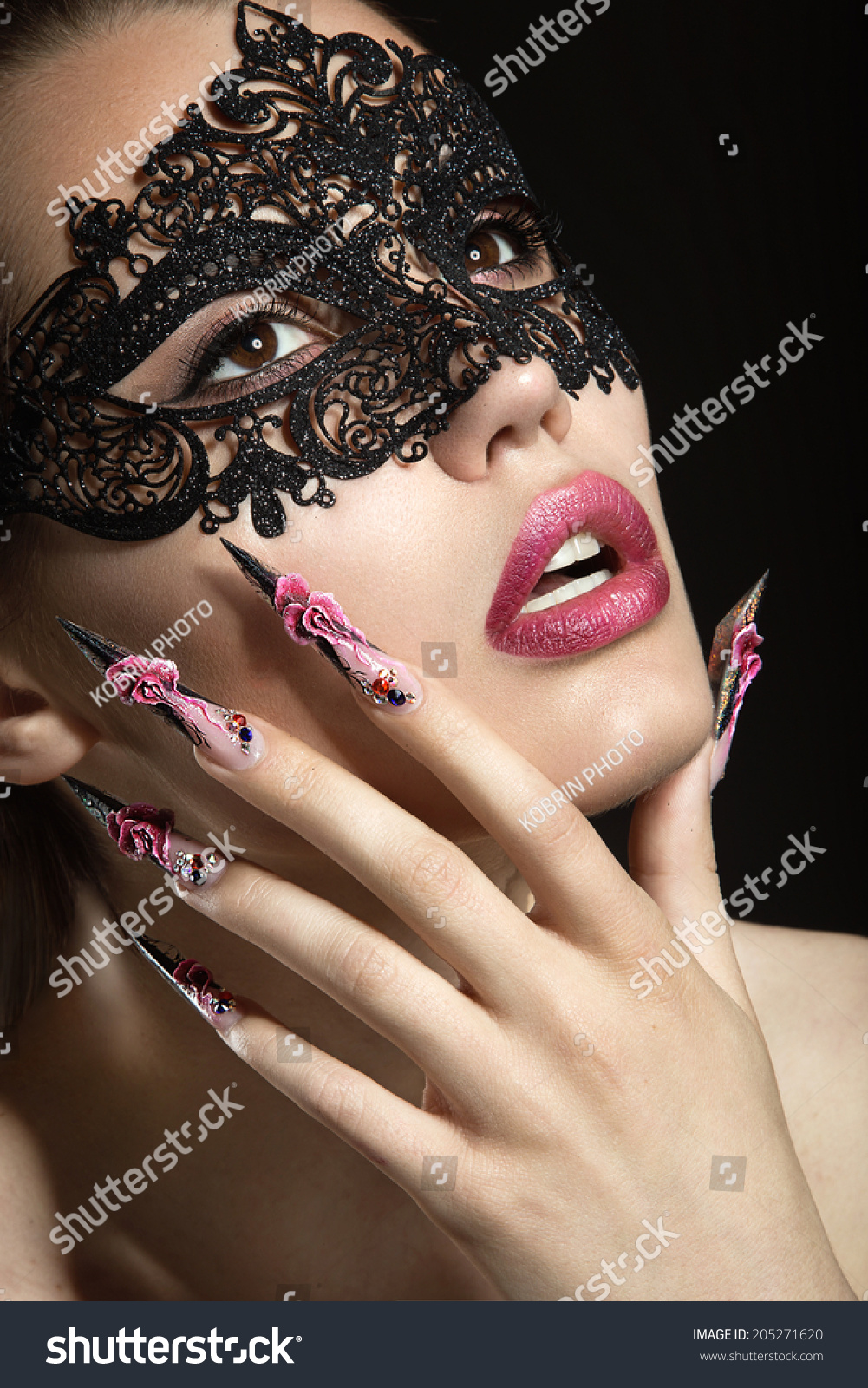 Beautiful Girl Mask Long Fingernails Portrait Stock Photo (Royalty ...