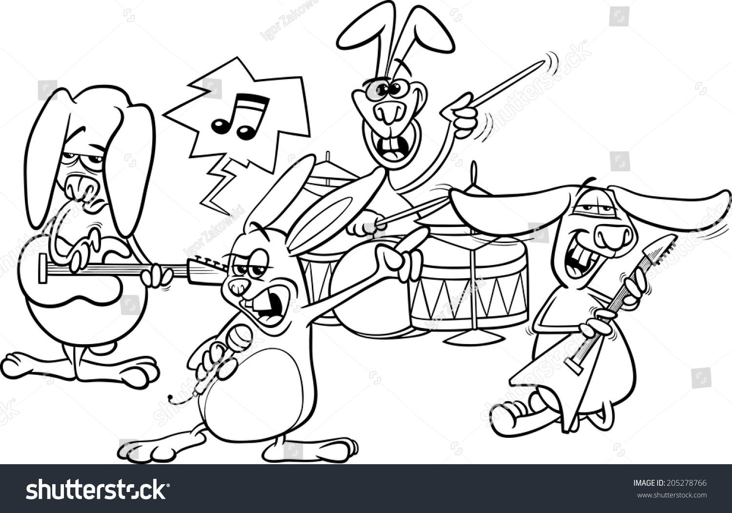Coloring Book Or Page Cartoon Illustration Of Black And White Funny Rabbits Band Playing Rock Music
