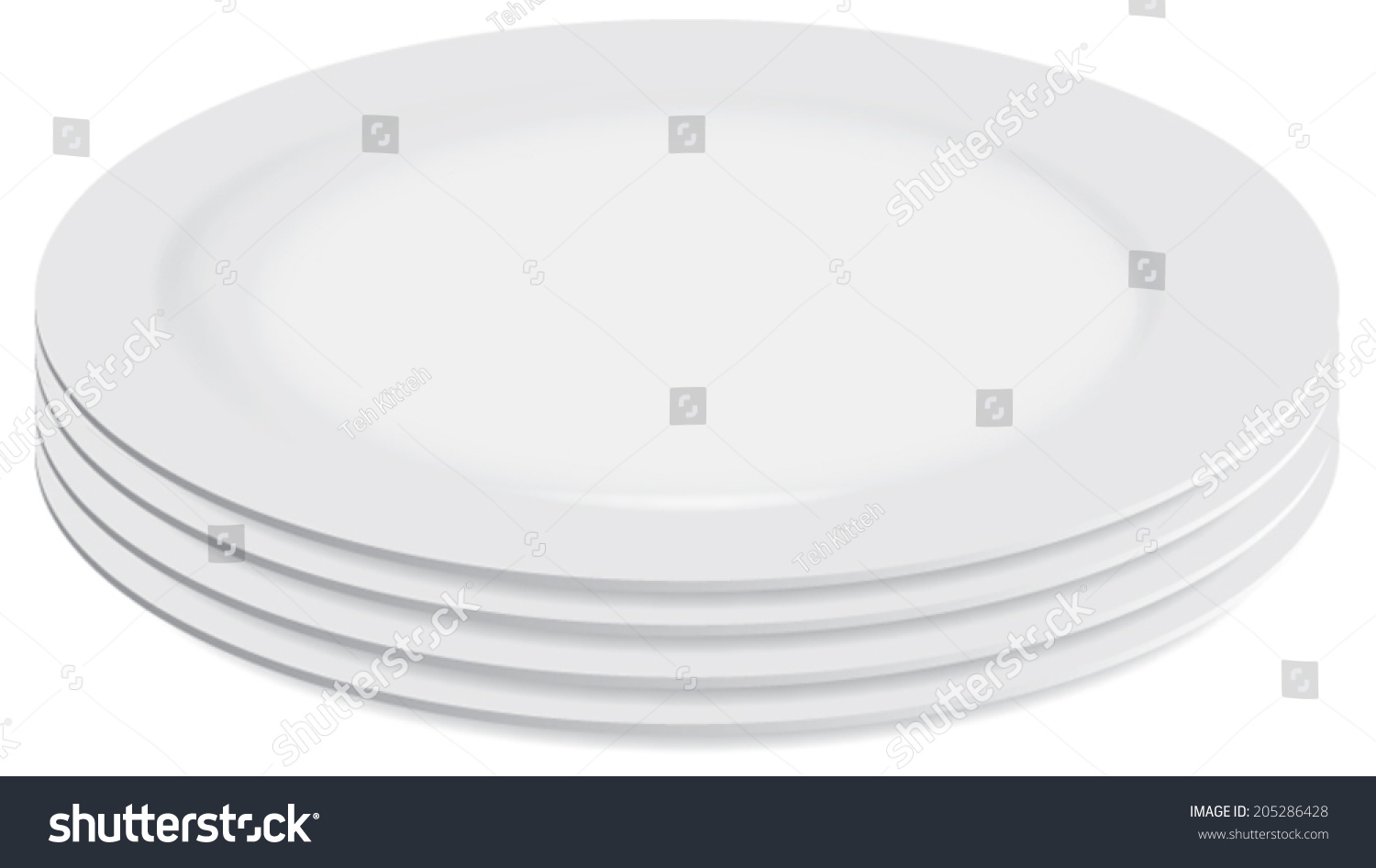 pile of clean white plates vector isolated 205286428. Black Bedroom Furniture Sets. Home Design Ideas
