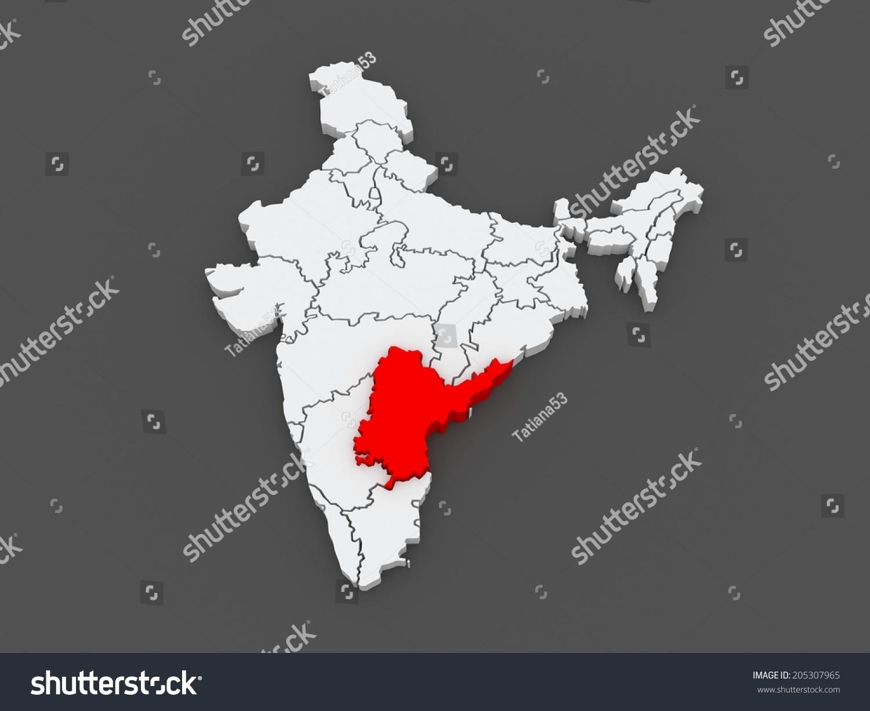Map Andhra Pradesh India 3 D Stock Illustration 205307965 - Shutterstock