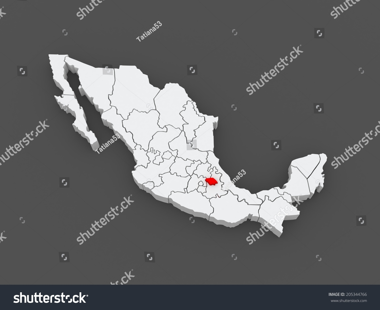 Map Of Tlaxcala Mexico 3d Ez Canvas