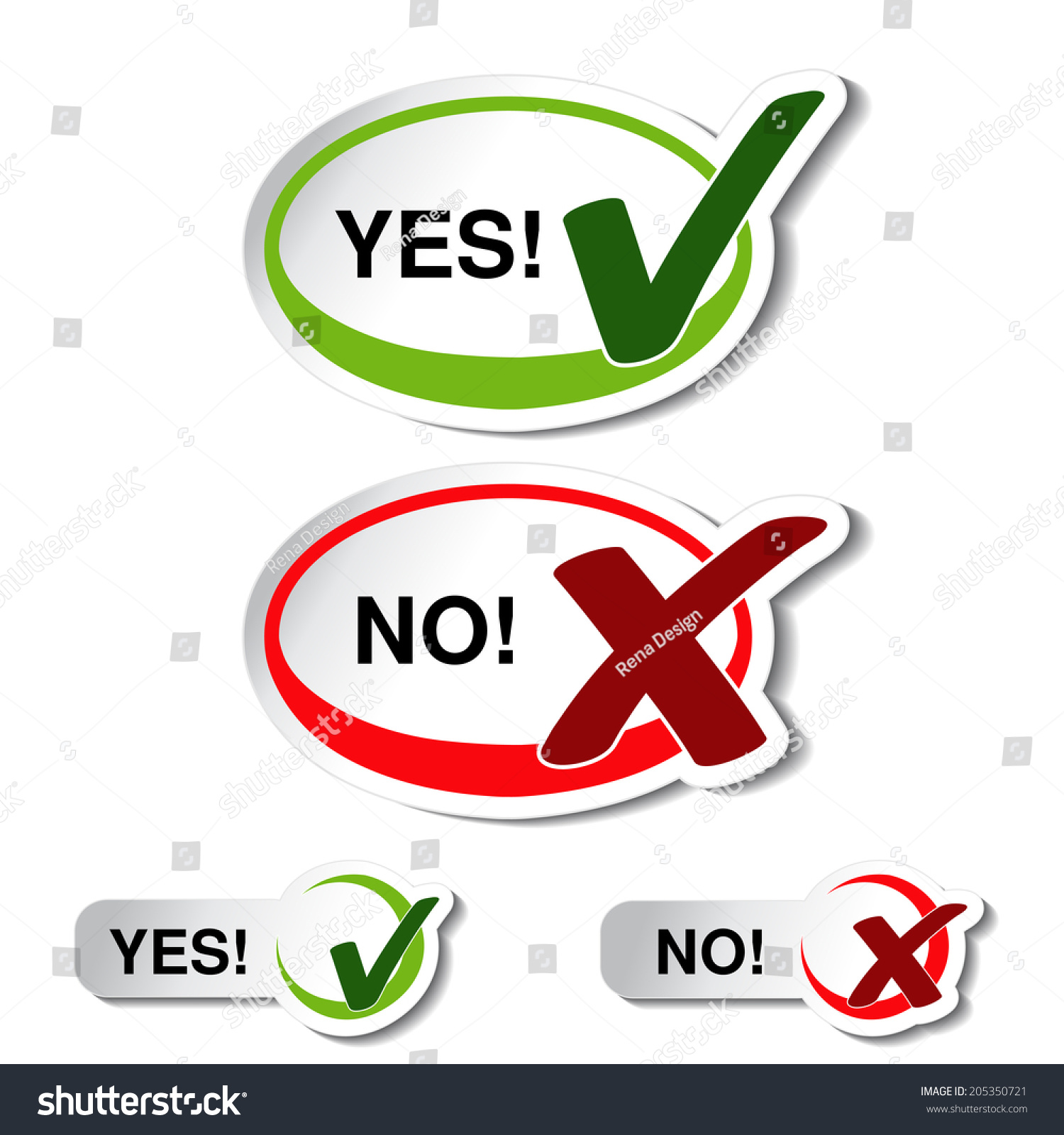 Oval Yes No Button Check Mark Stock Illustration 205350721