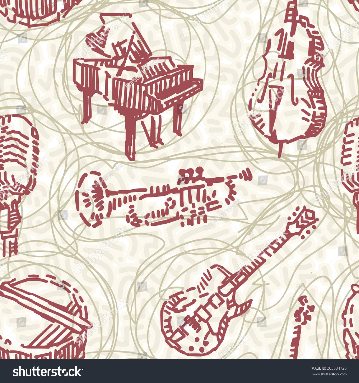 Music instruments seamless pattern