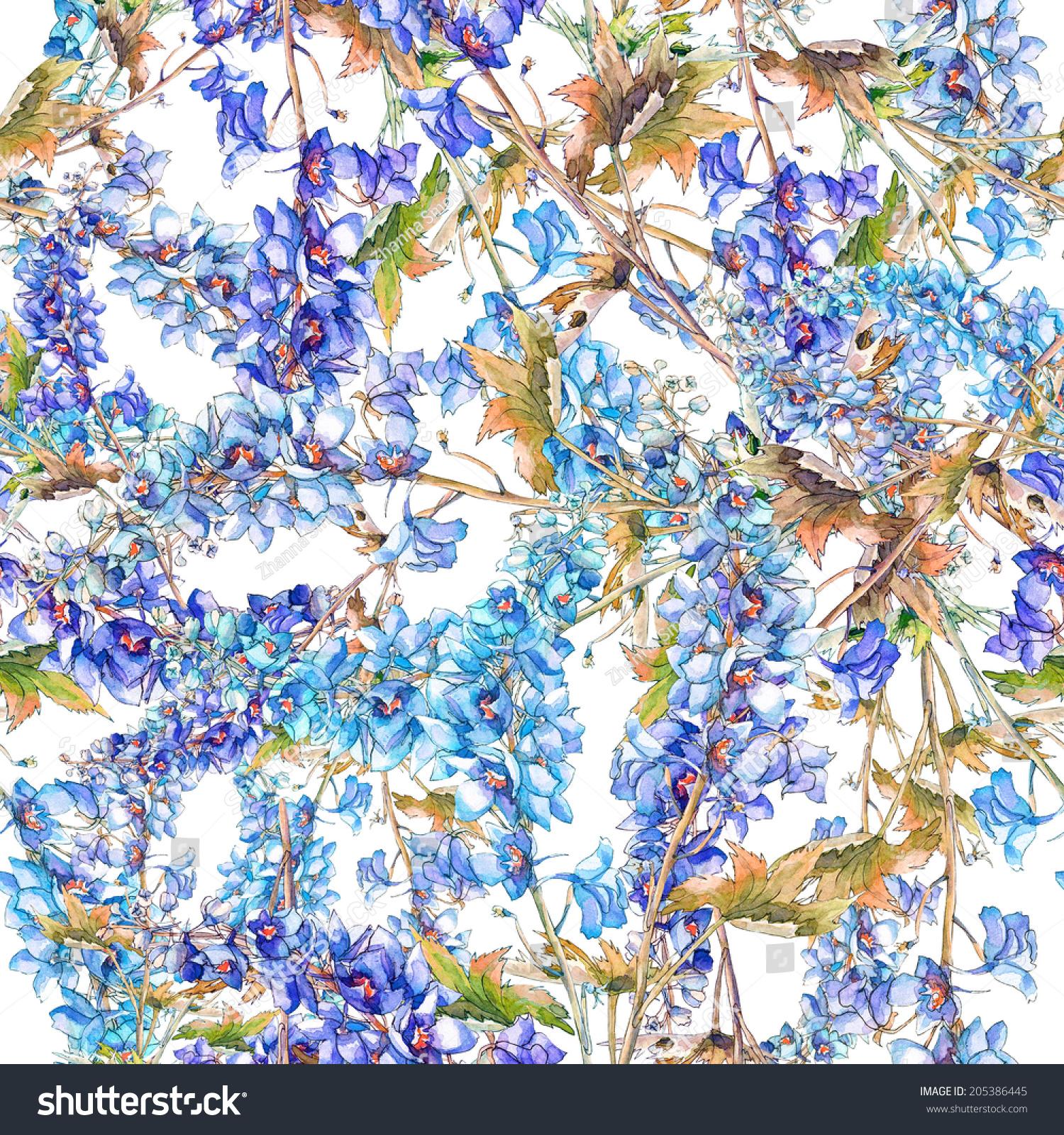 Blue Delphinium Flowers Seamless Pattern Ez Canvas