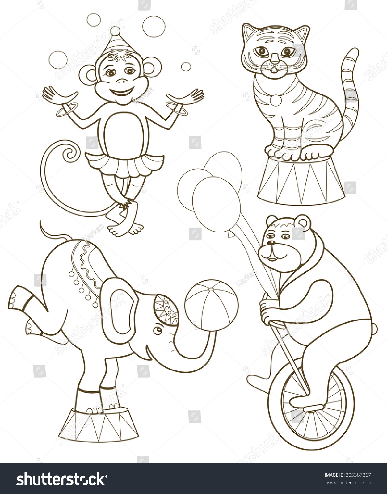 Set Cheerful Circus Animals Vector Illustration Stock Vector