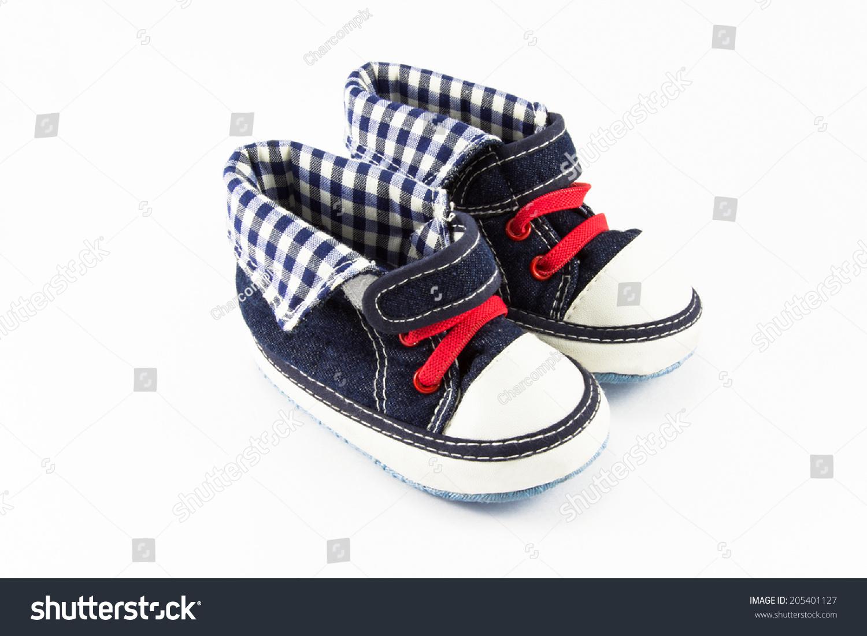 fdff489f8 Blue baby shoes isolated on white background