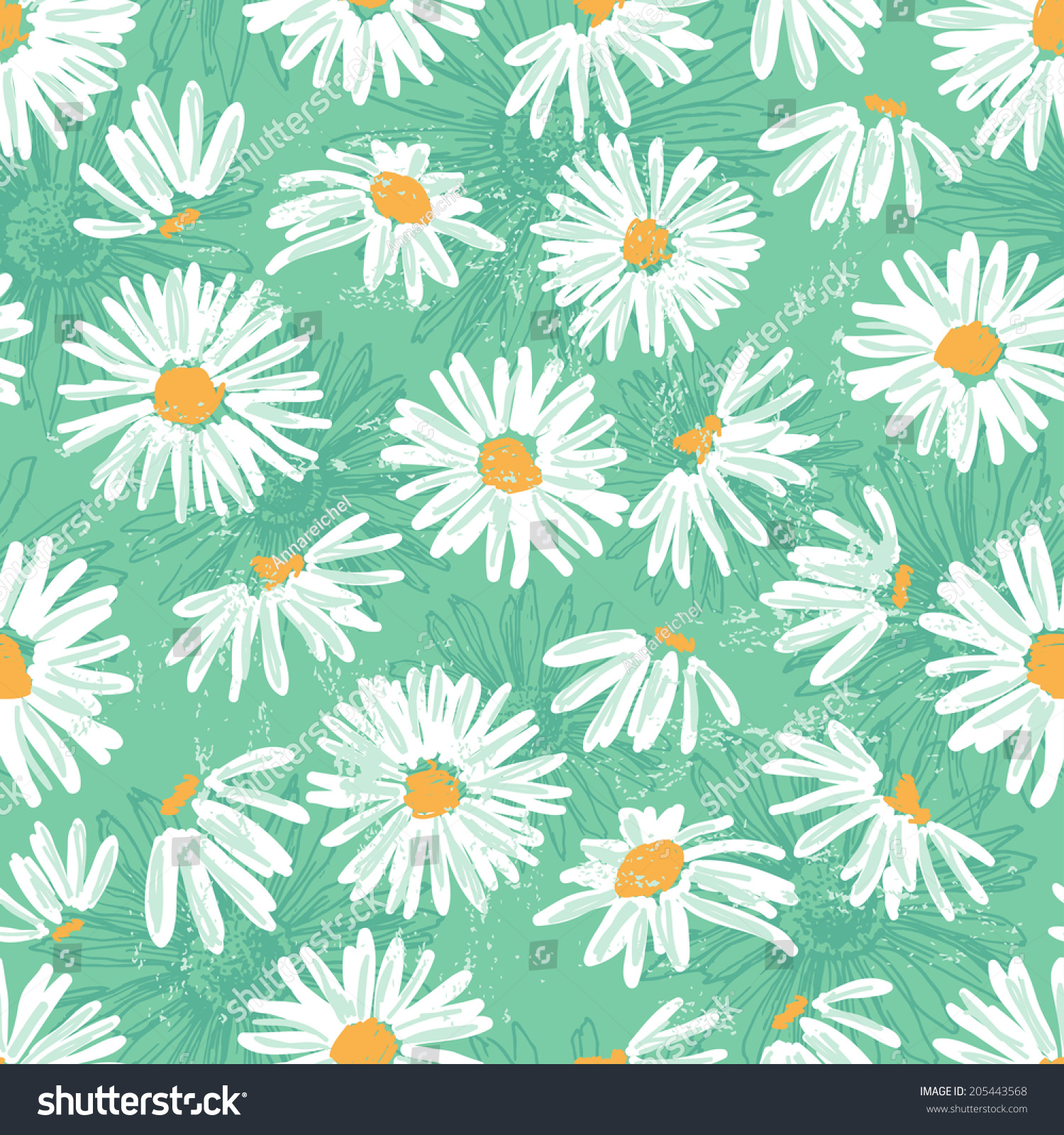 hand drawn pretty daisies seamless pattern stock vector royalty