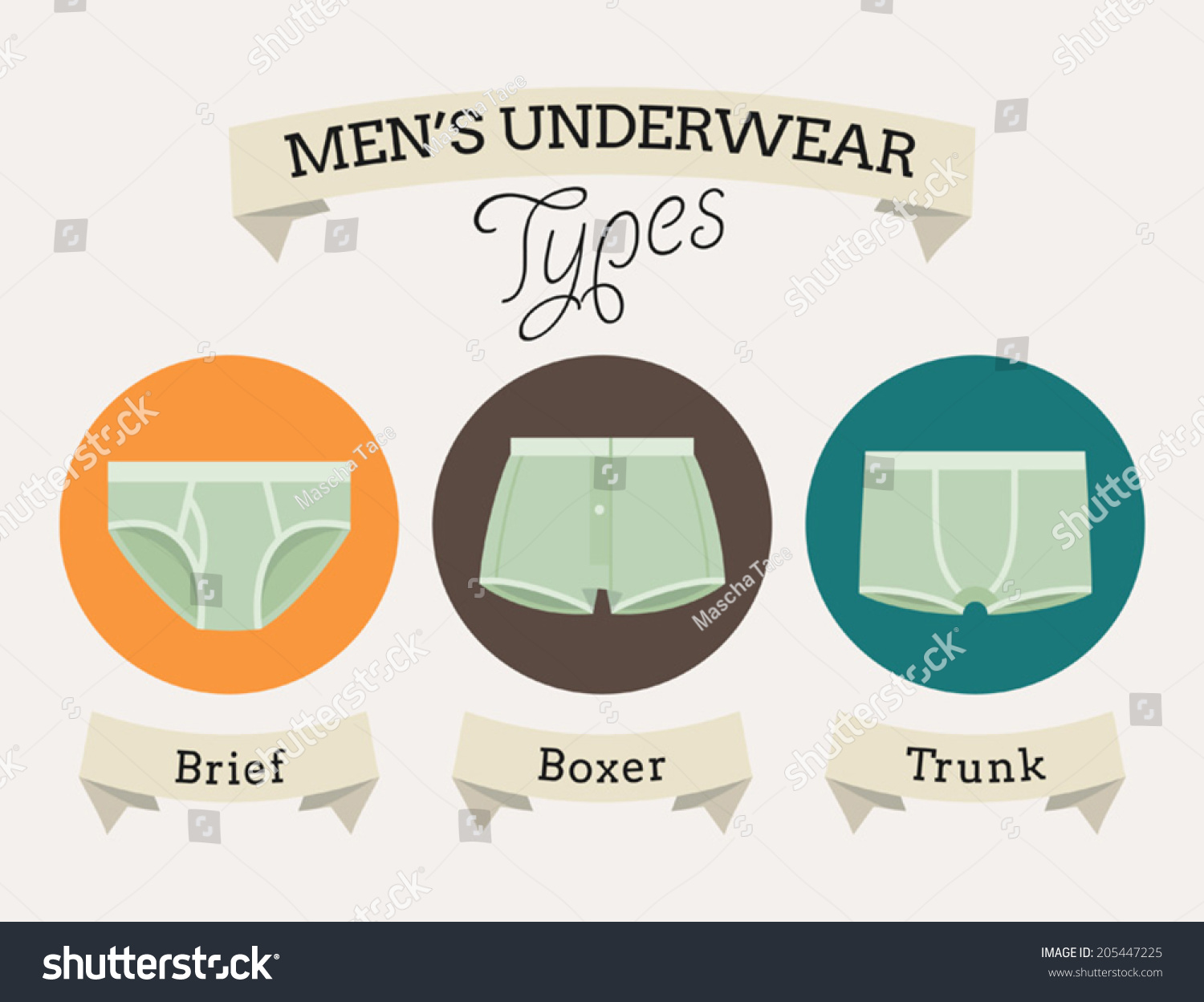 Mens Underwear Types Names On Ribbons Stock Vector 205447225 ...