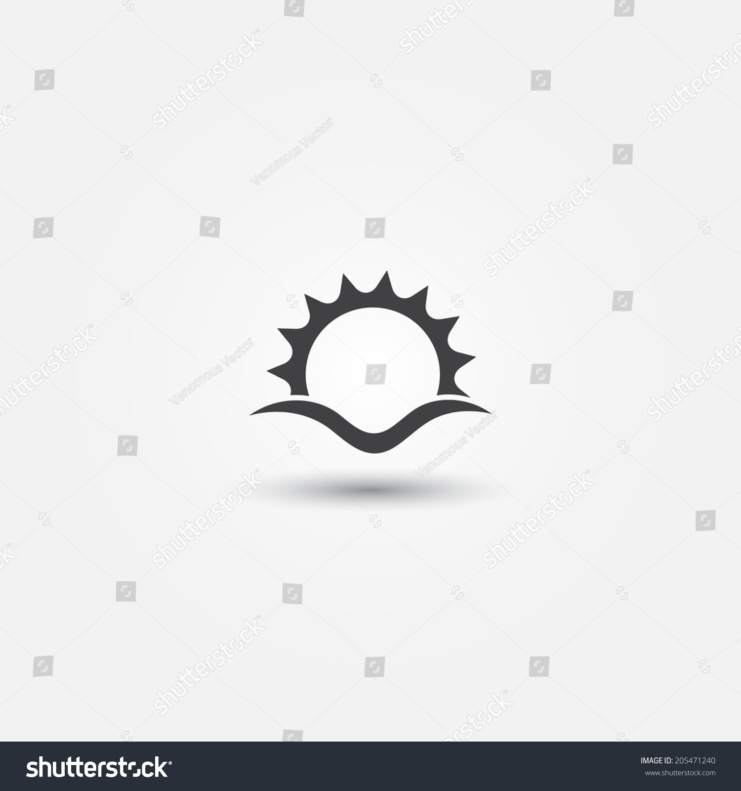 Rise Against Icon Stock Vector Sun And Sea Wave Vector Minimal