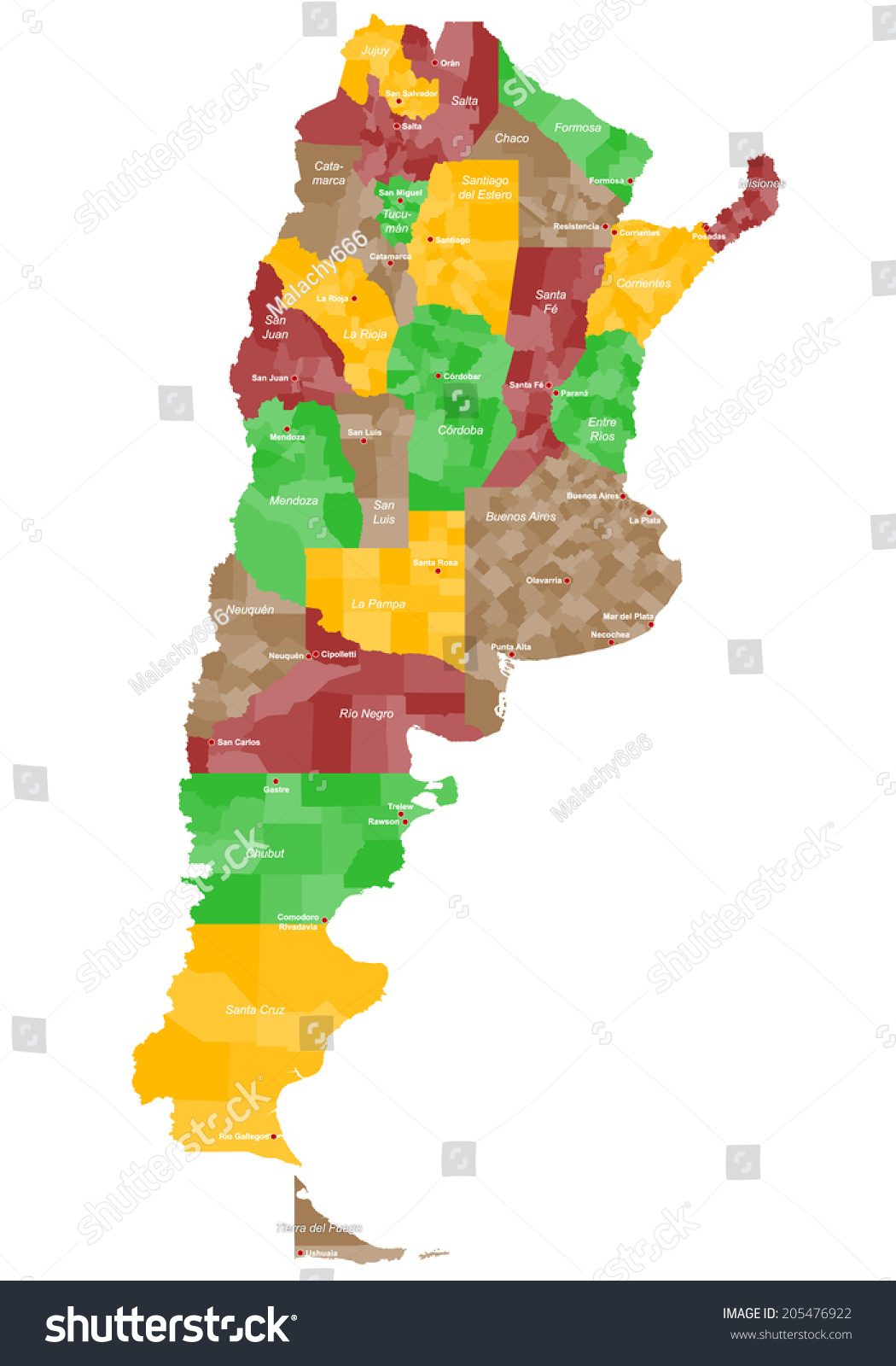 Large Detailed Map Argentina All Provinces Stock Vector - Argentina map provinces