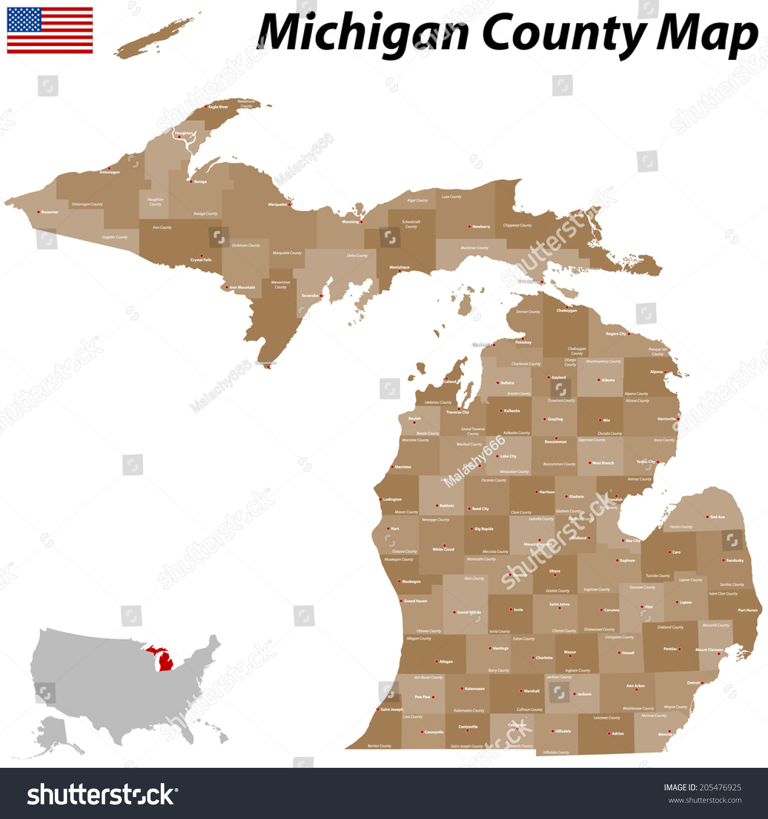 Detailed Michigan Map.Large Detailed Map State Michigan All Stock Vector Royalty Free
