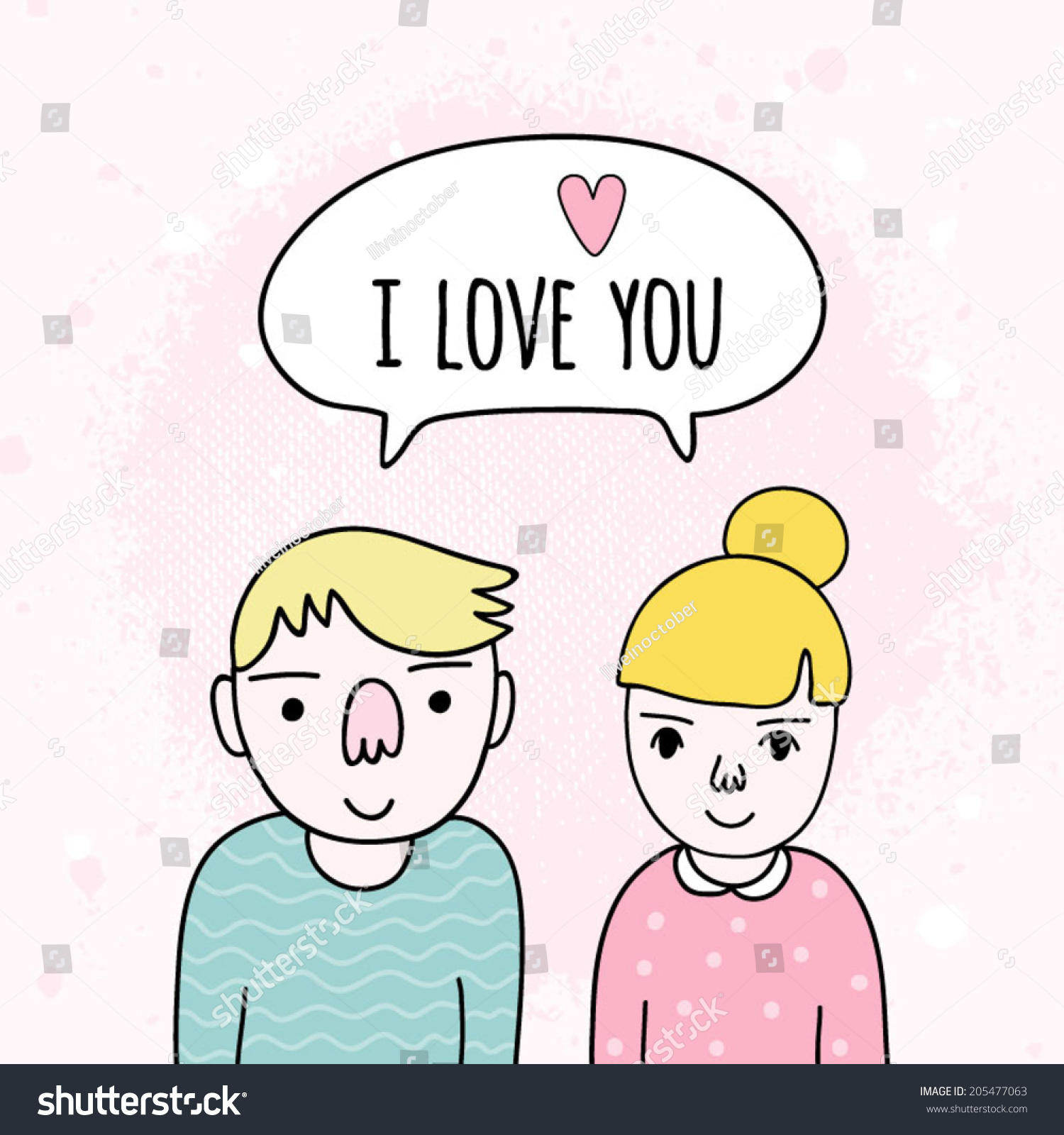 cartoon-couple-in-love-romantic-hand-drawn-background-cute-i-love-you ...