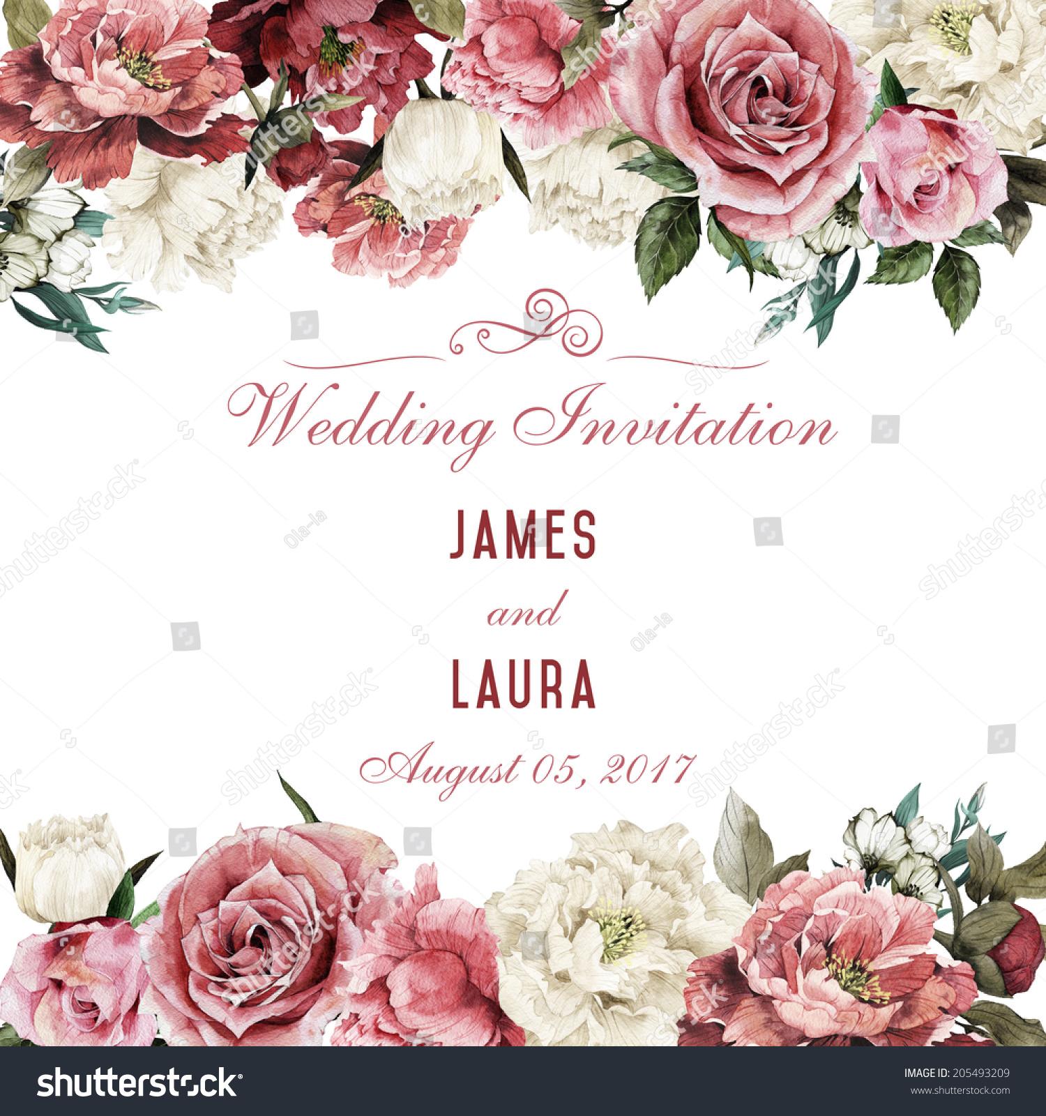 rose wedding invitation background - photo #26