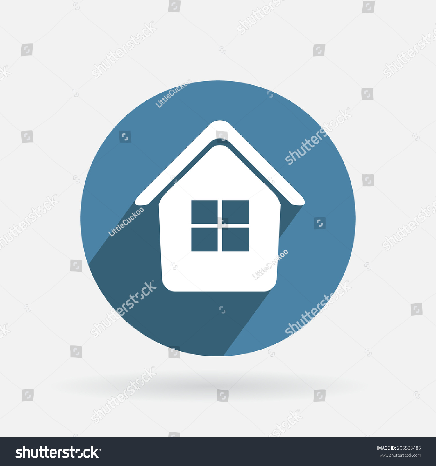 Circle Blue Icon Shadow Icon Home Stock Vector (Royalty Free