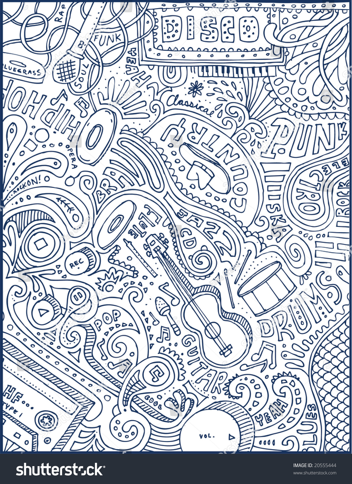 full page crazy music doodles visit stock vector royalty free