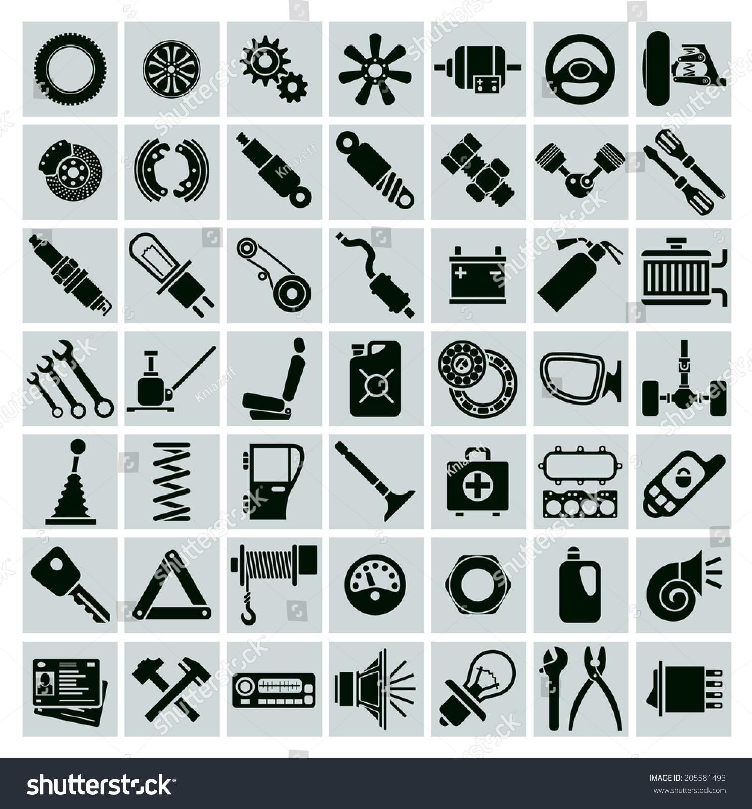 Car Parts Tools Accessories Set Vector Stock Vector 205581493 ...