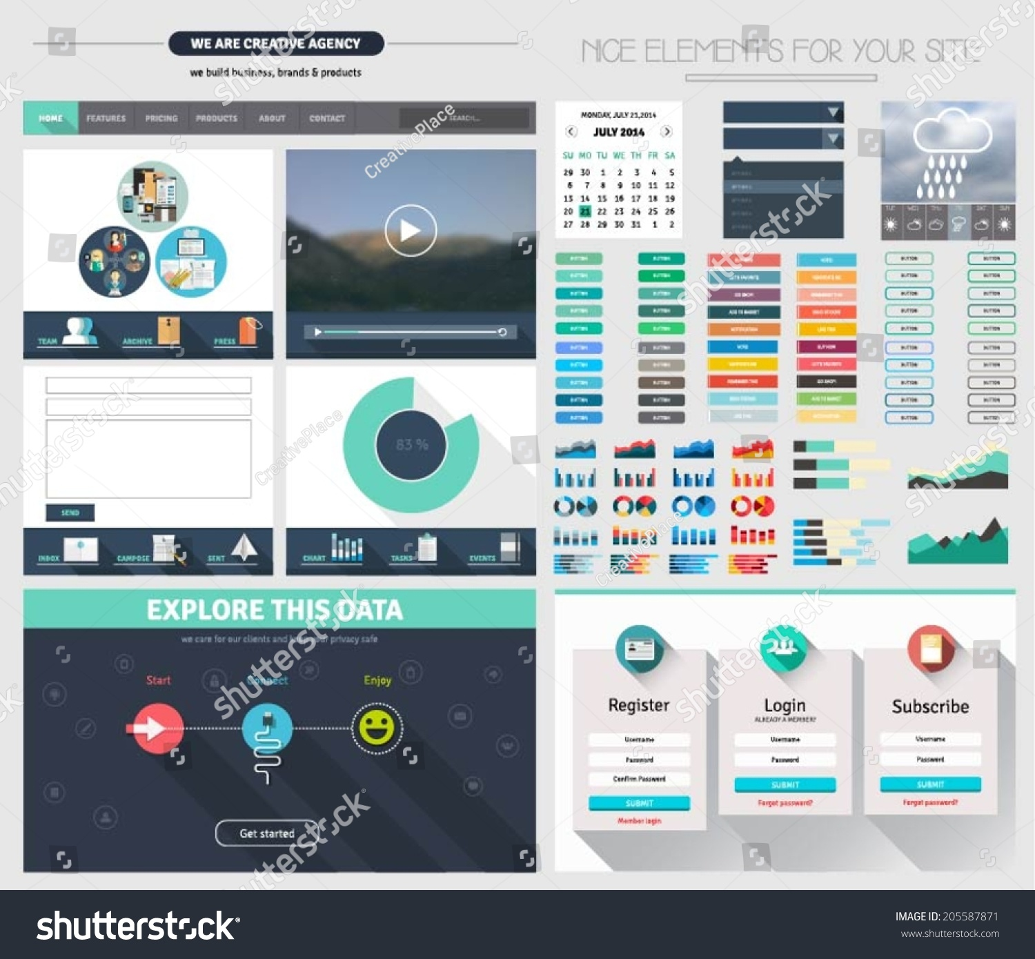 One page website flat ui design template with icons forms for Html header menu templates