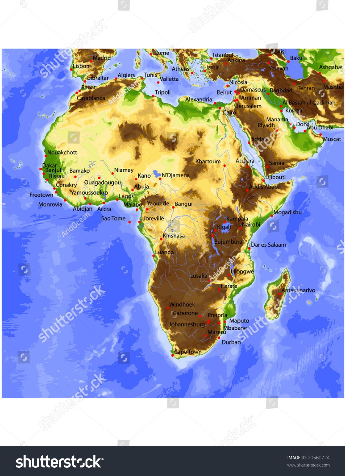 Africa Near East Physical Vector Map Stock Vector 20560724